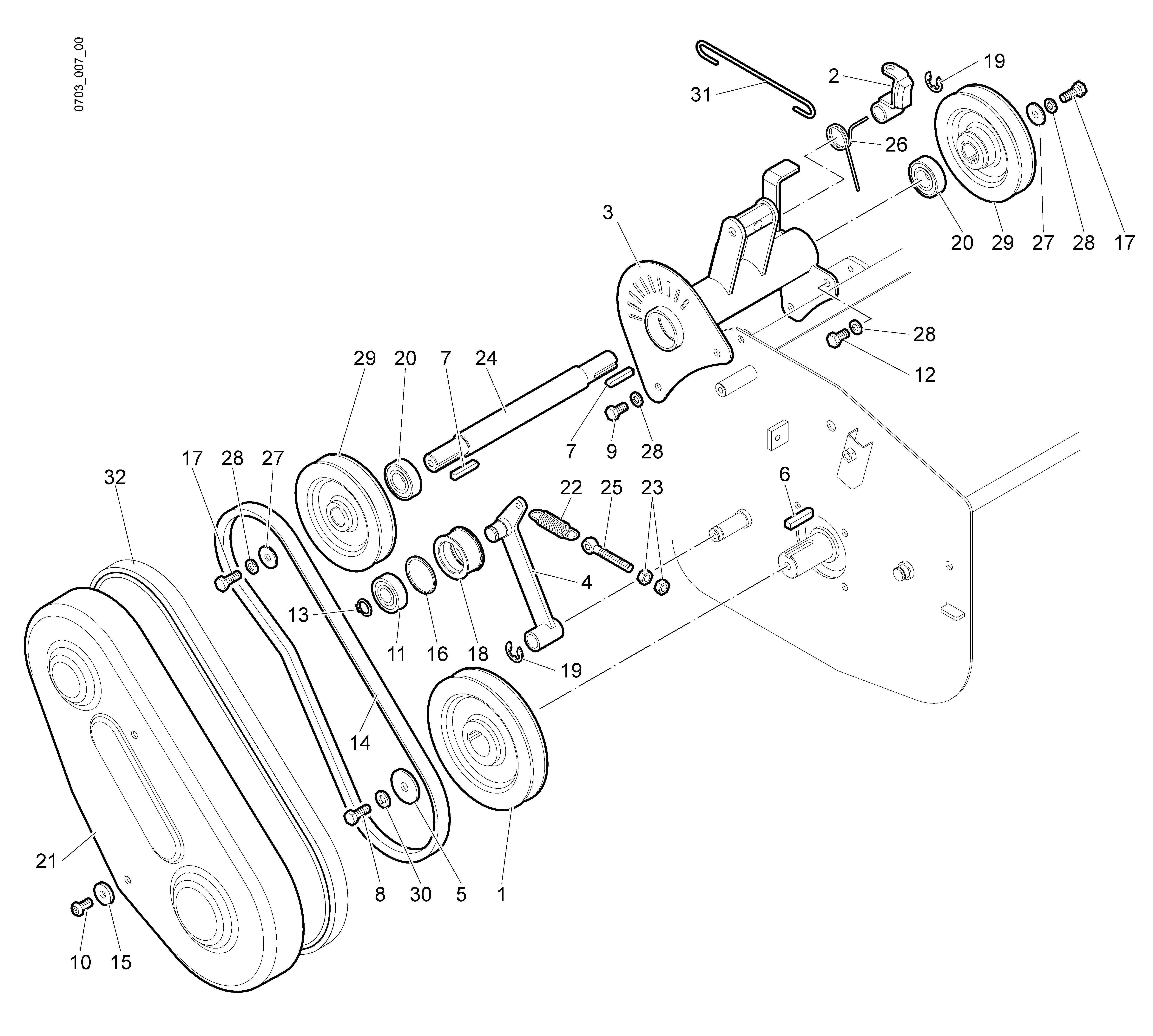 WB 80 KR 11 Tondeuse à fléaux  Oleomac Vue éclatée  Dessins pièces -  Transmission (2/2)