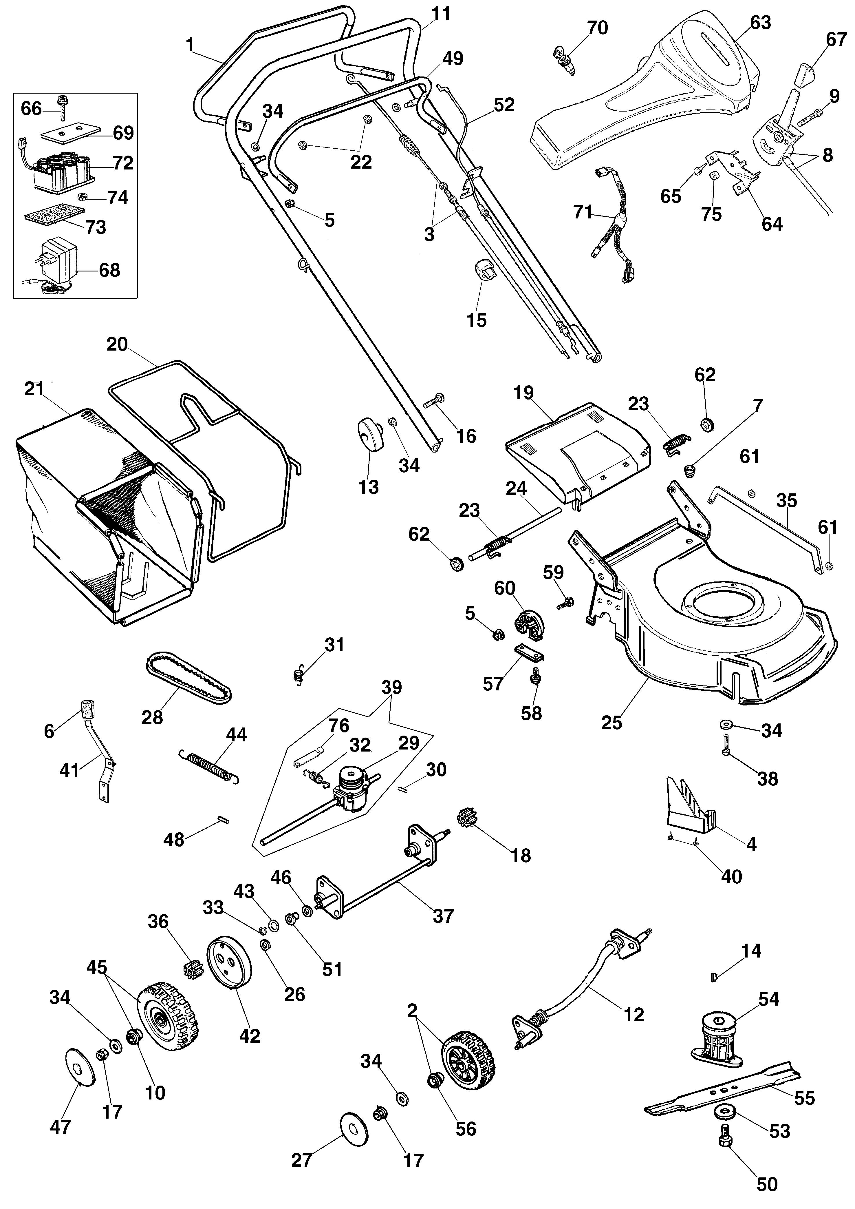 G 48 TBXE Tondeuse Oleomac Dessins pièces -  Vue éclatée (Jusqu a mai 05)