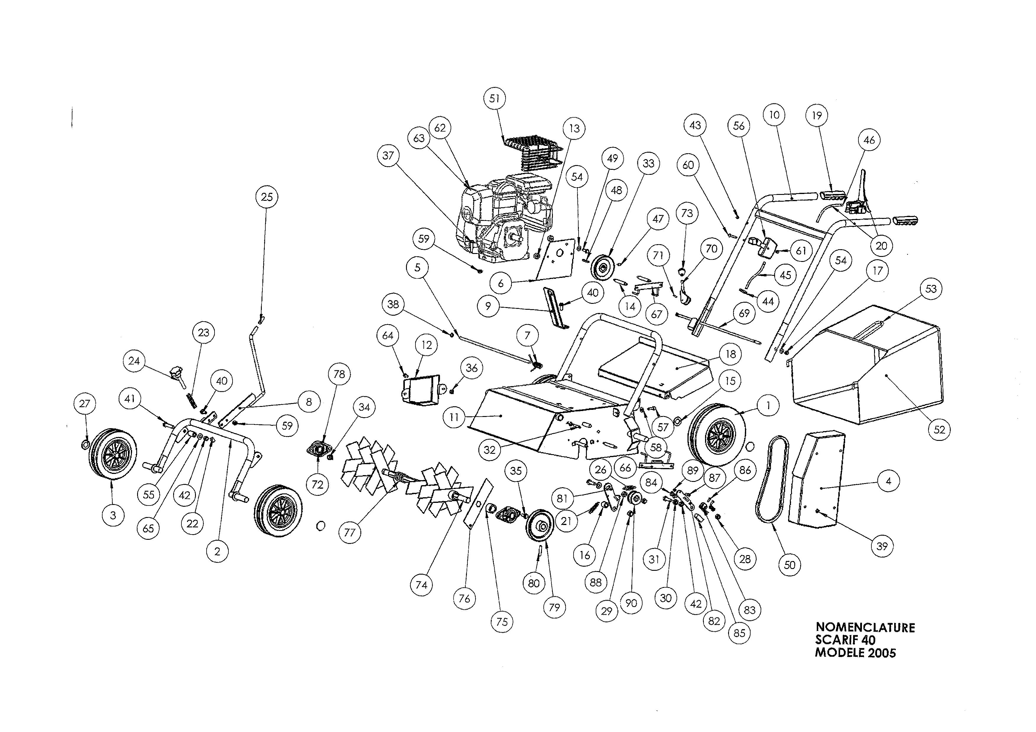 SCA 40 Scarificateur OLEOMAC vue éclatée Dessins pièces -  Vue éclatée