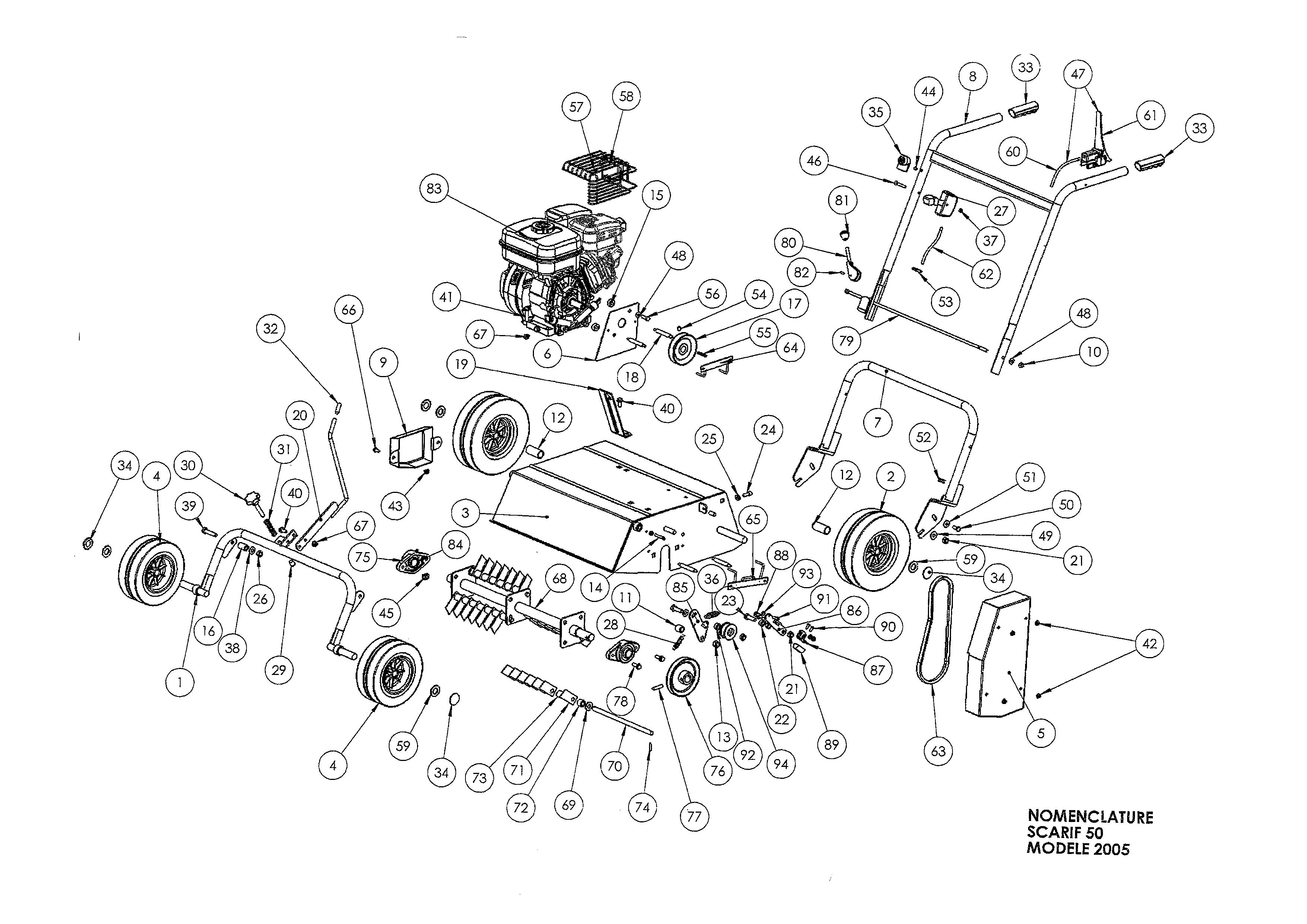 SCA 50 Scarificateur OLEOMAC Dessins pièces -  Vue éclatée