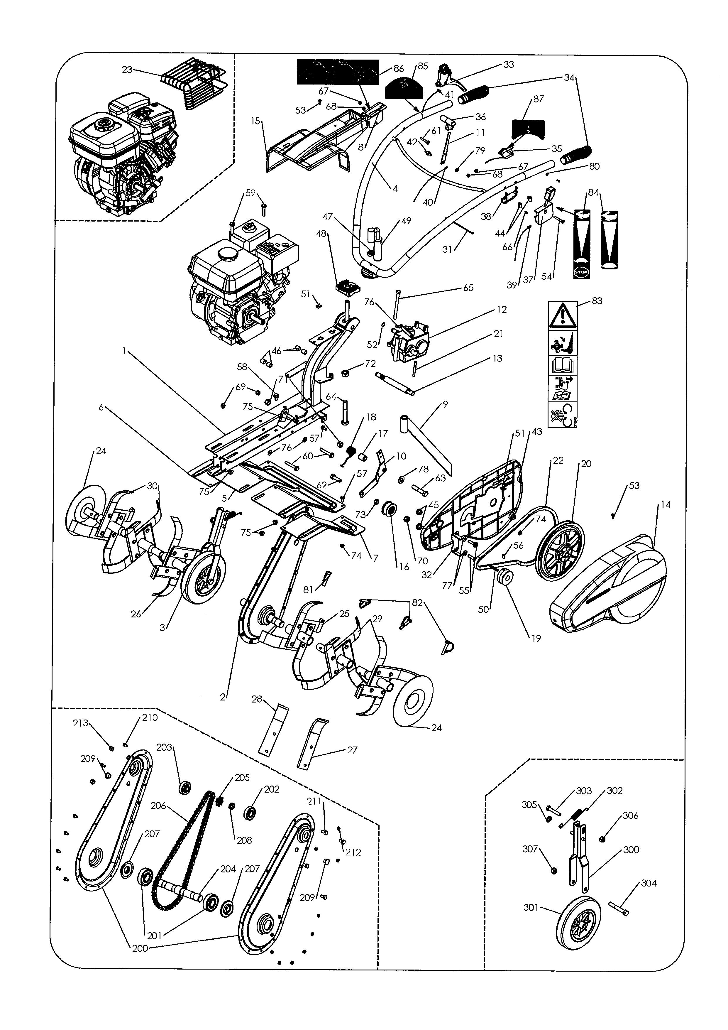 MH6 PRO NM Motobineuse OLEOMAC Dessins pièces -  Vue éclatée