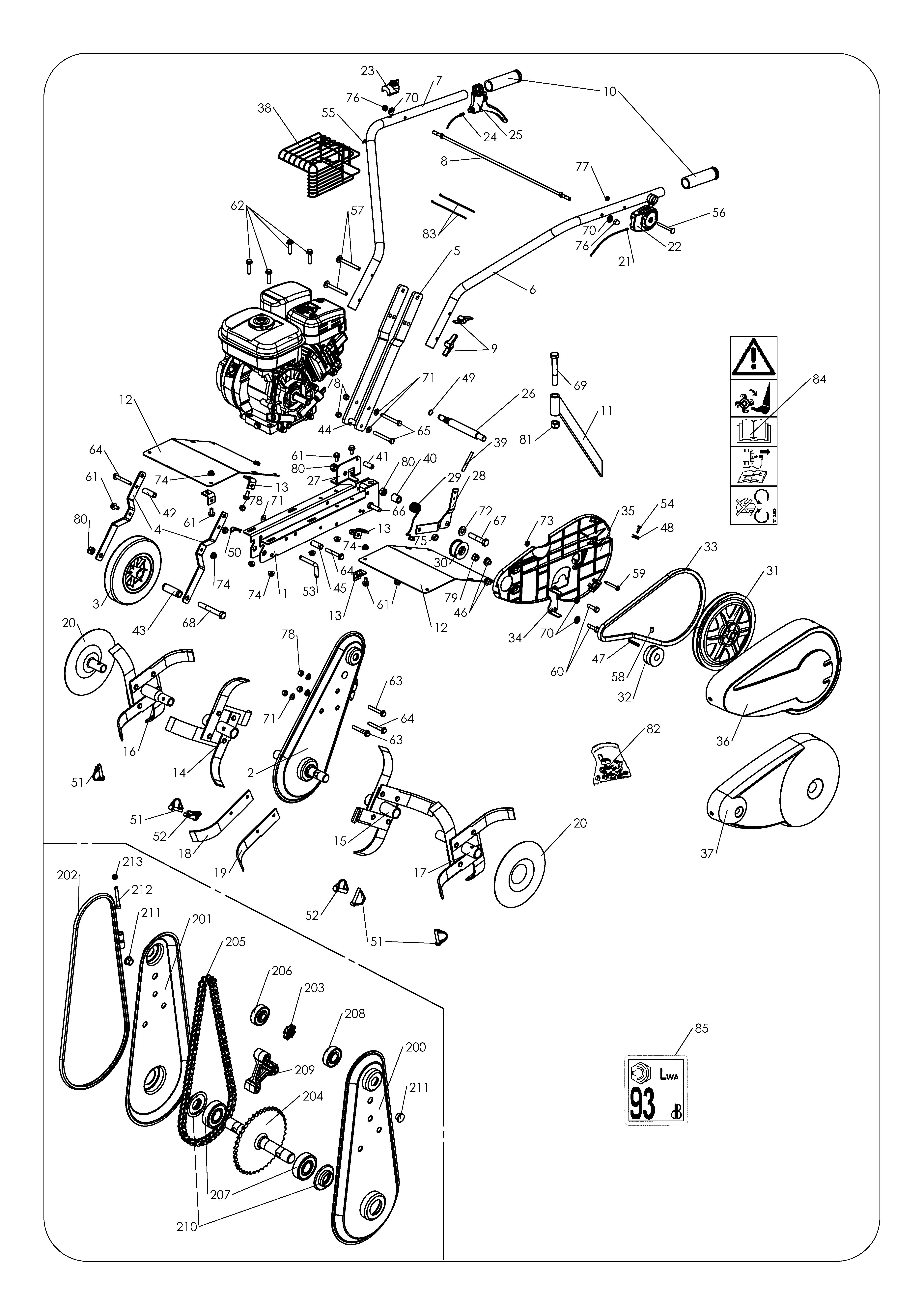 MH 3 PRO Motobineuse OLEMAC Dessins pièces -  Vue éclatée
