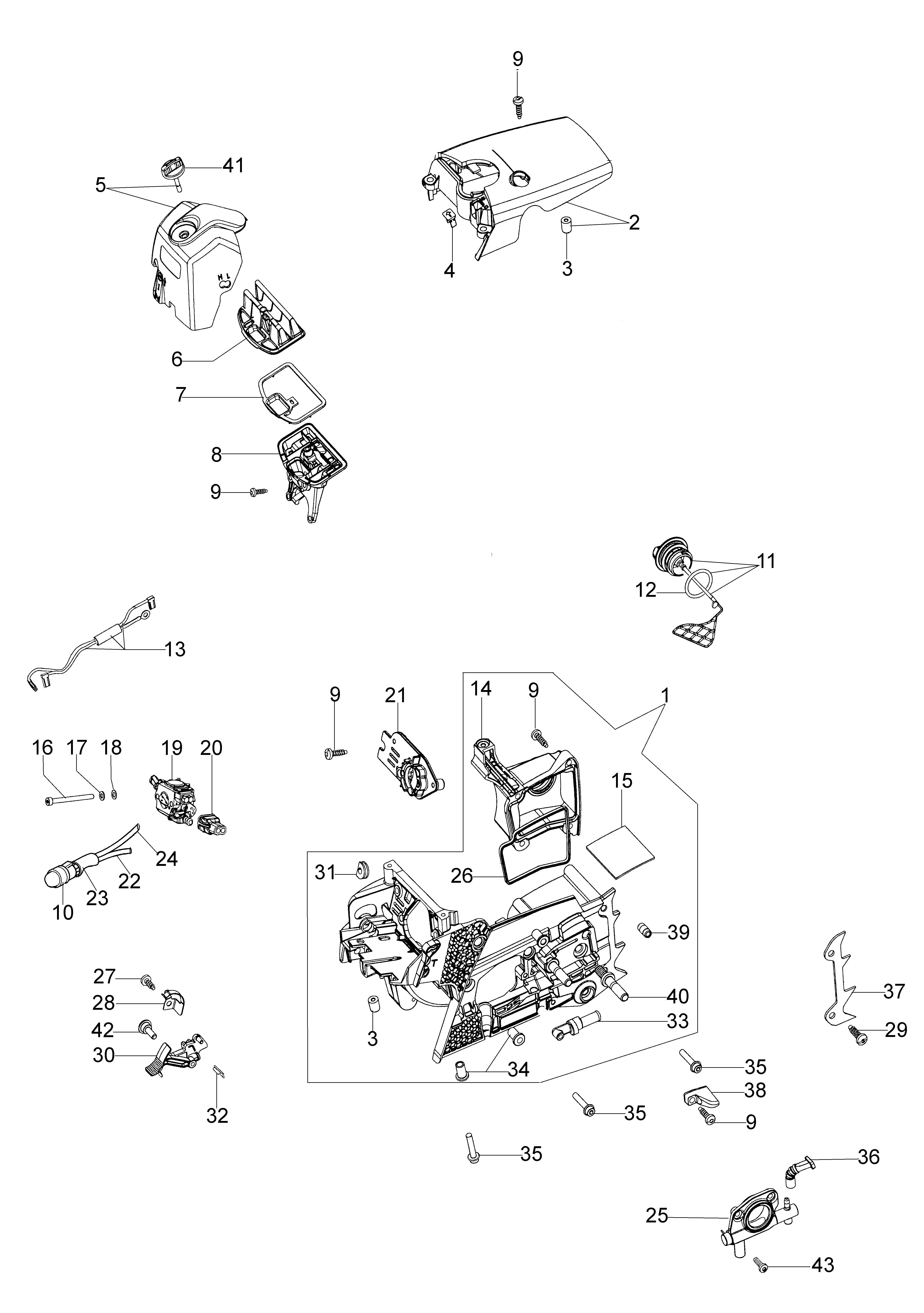 GS 44 (Euro 1) Tronçonneuse oleomac Dessins pièces vue éclatée Soubassement