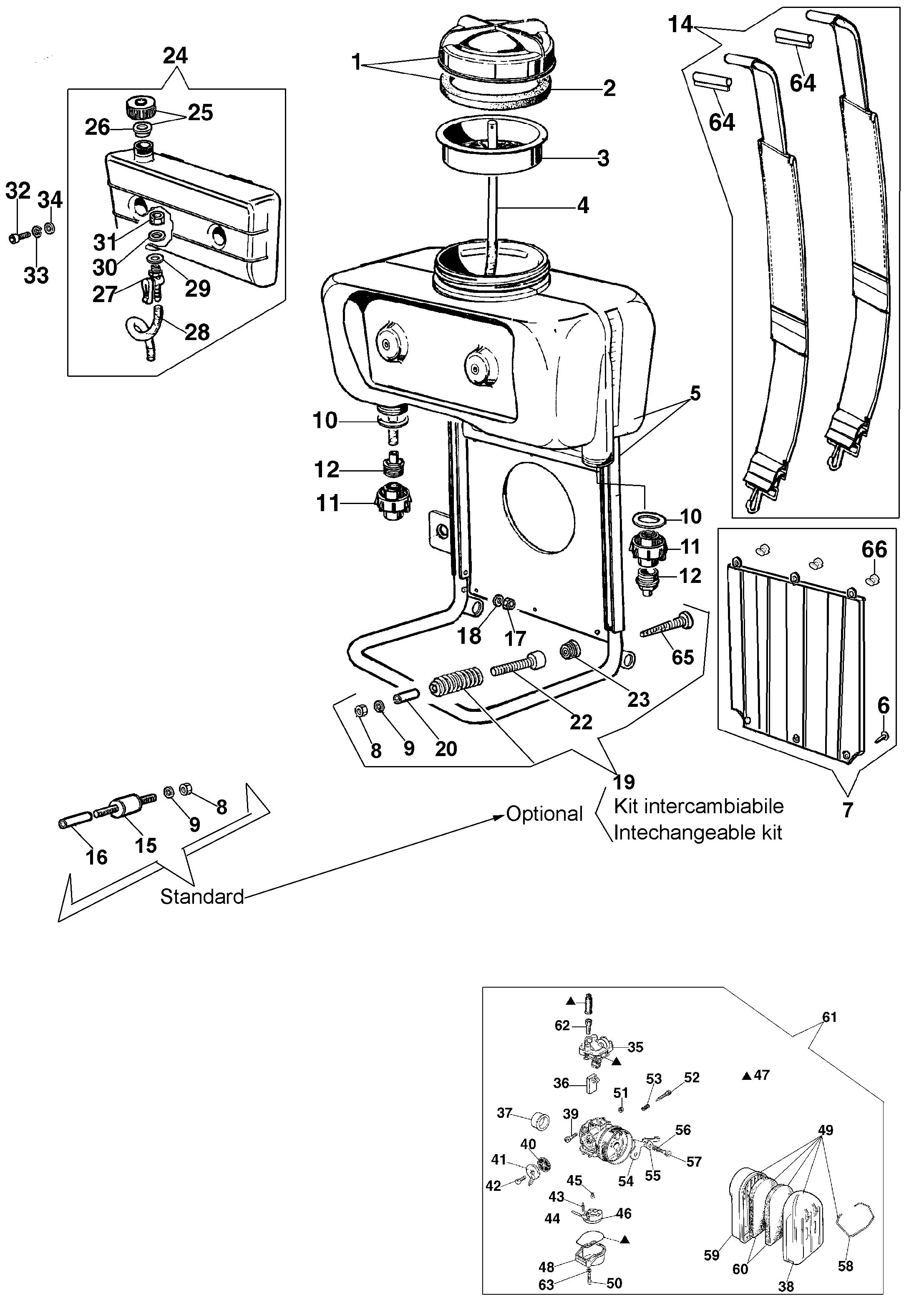 AM 150 Atomiseur oleomac Dessins pièces vue éclatée  Groupe réservoir