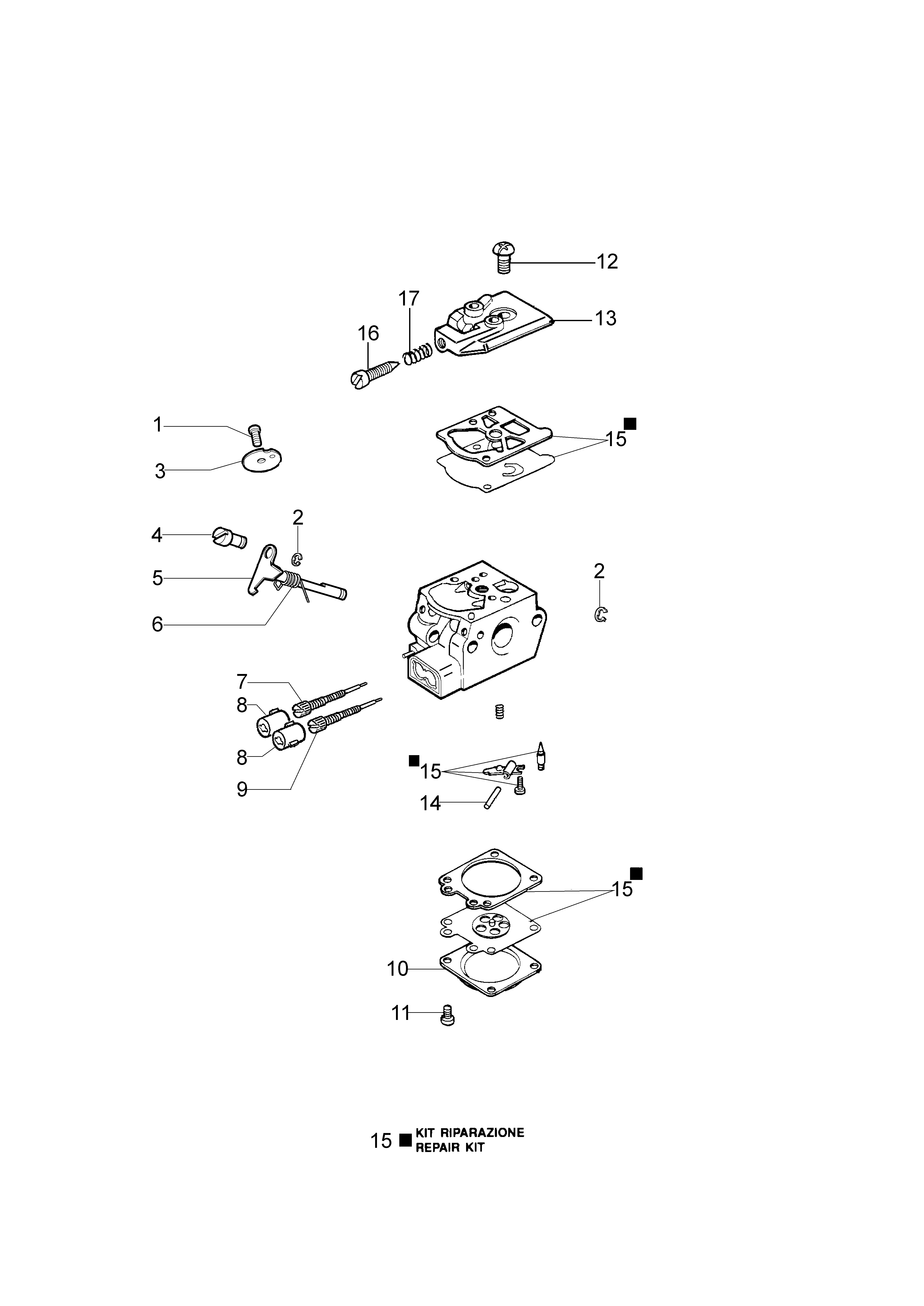 SPARTA 42 BP oleomac Dessins pièces vue éclatée Carburateur WT-870