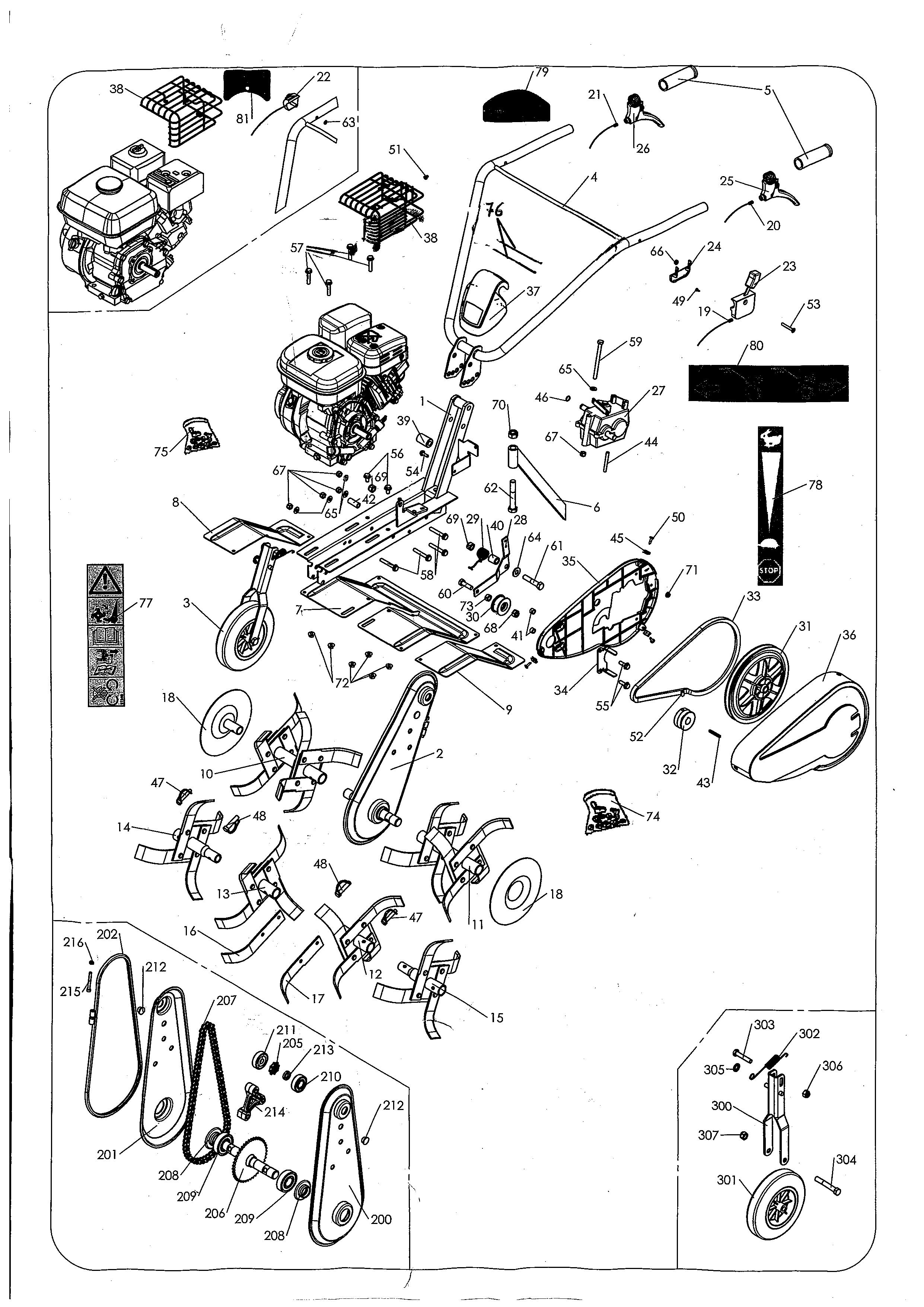 MH 4 PRO NM Motobineuse OLEOMAC Dessins pièces - Vue éclatée