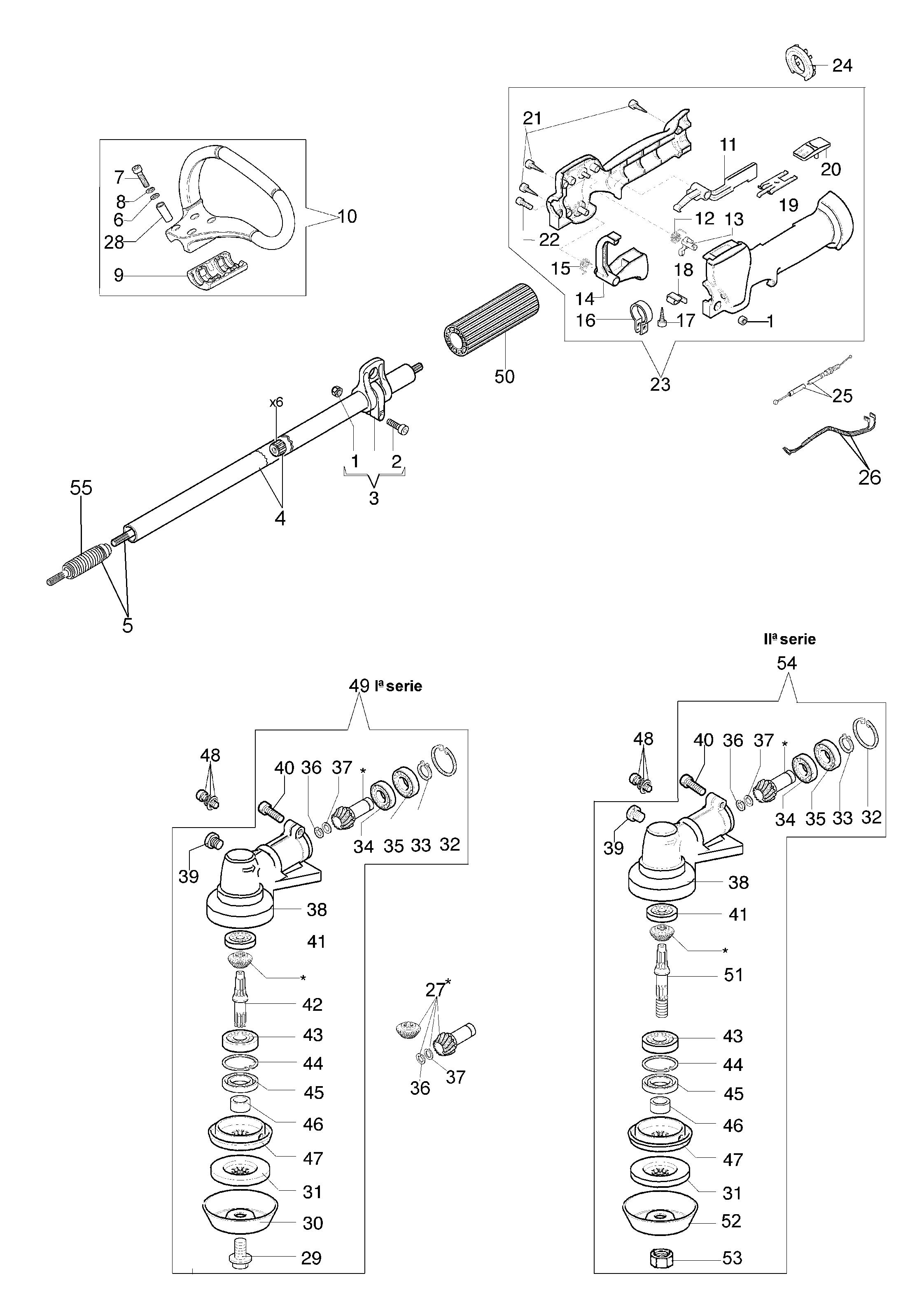 BC 380 S Débroussailleuse oleomac Dessins pièces vue éclatée Transmission Ø26