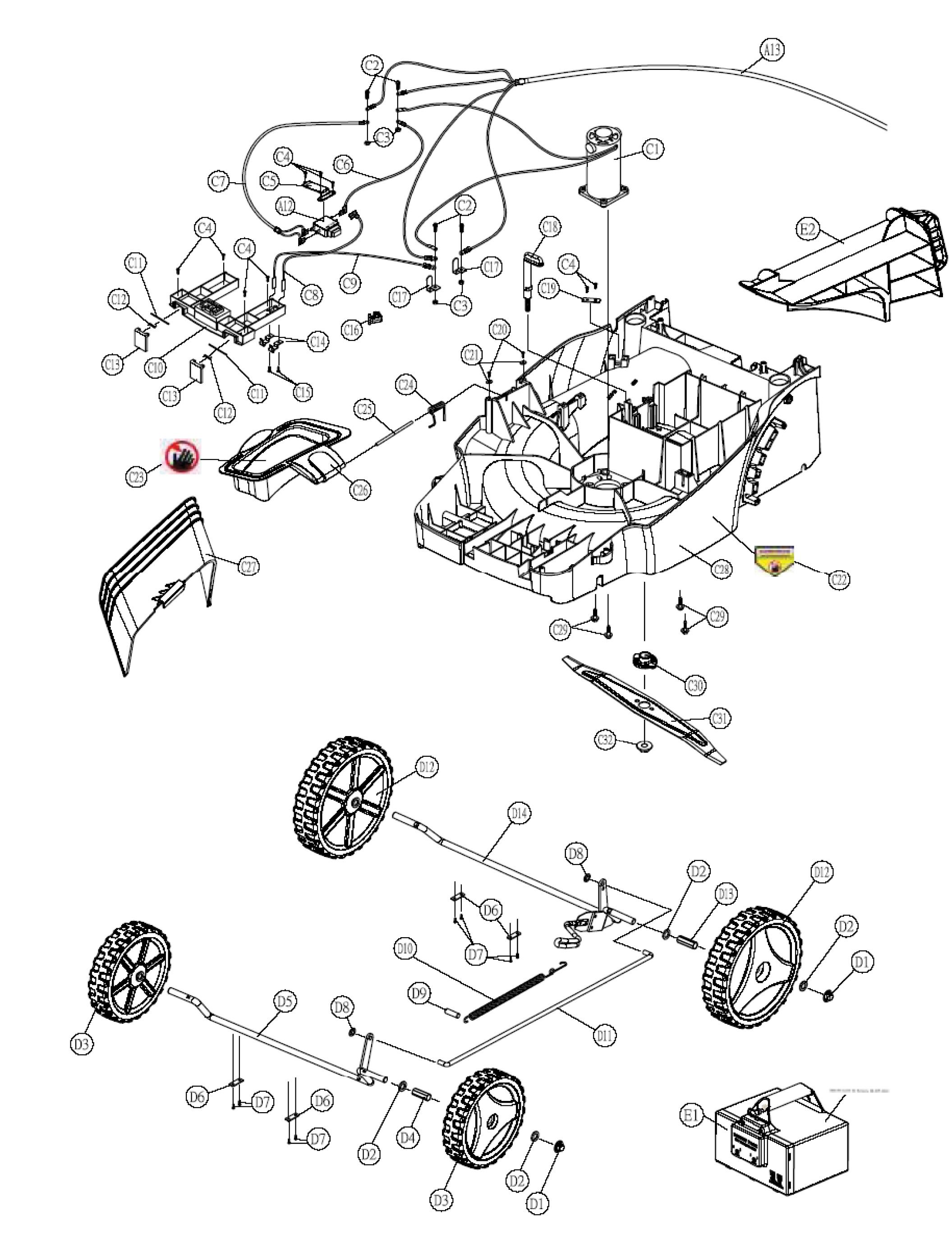 OM 461 Tondeuse à batterie  OLEOMAC vue éclatée  Dessins pièces -  Châssis