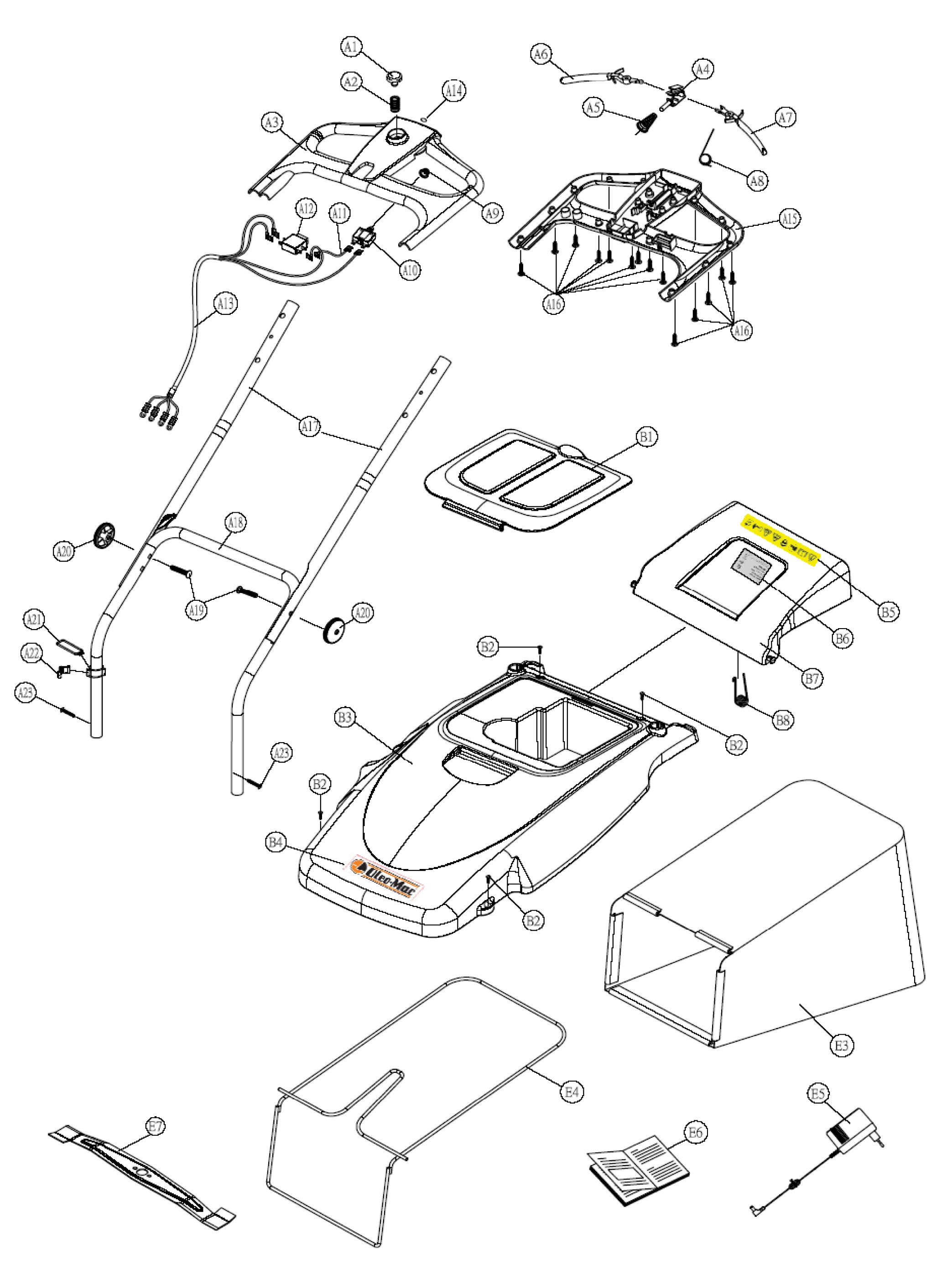 OM 461 Tondeuse à batterie OLEOMAC vue éclatée Dessins pièces -  Guidon