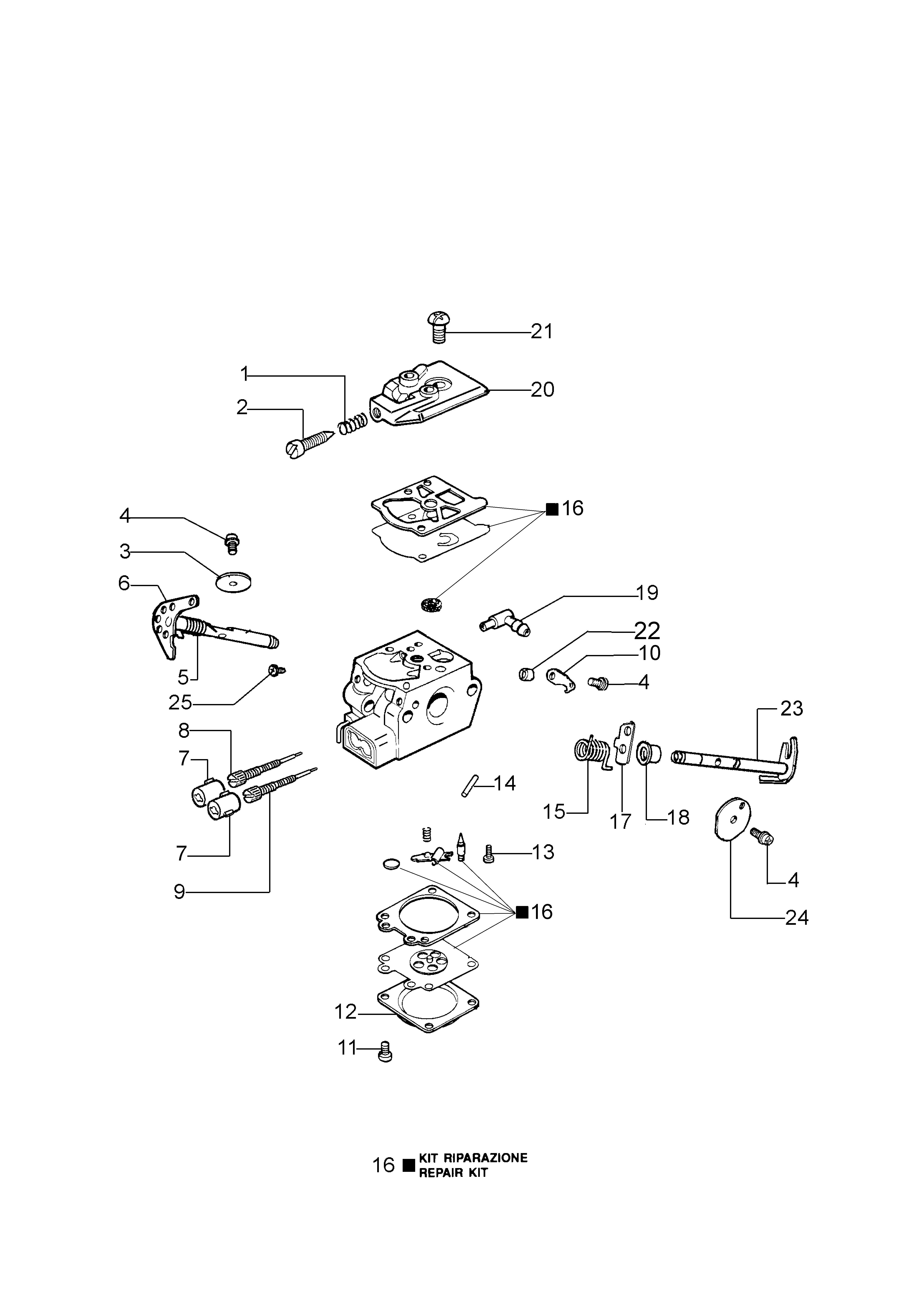 GS 370 (Euro 2) Tronçonneuse oleomac Dessins pièces -  Carburateur WT-781DR