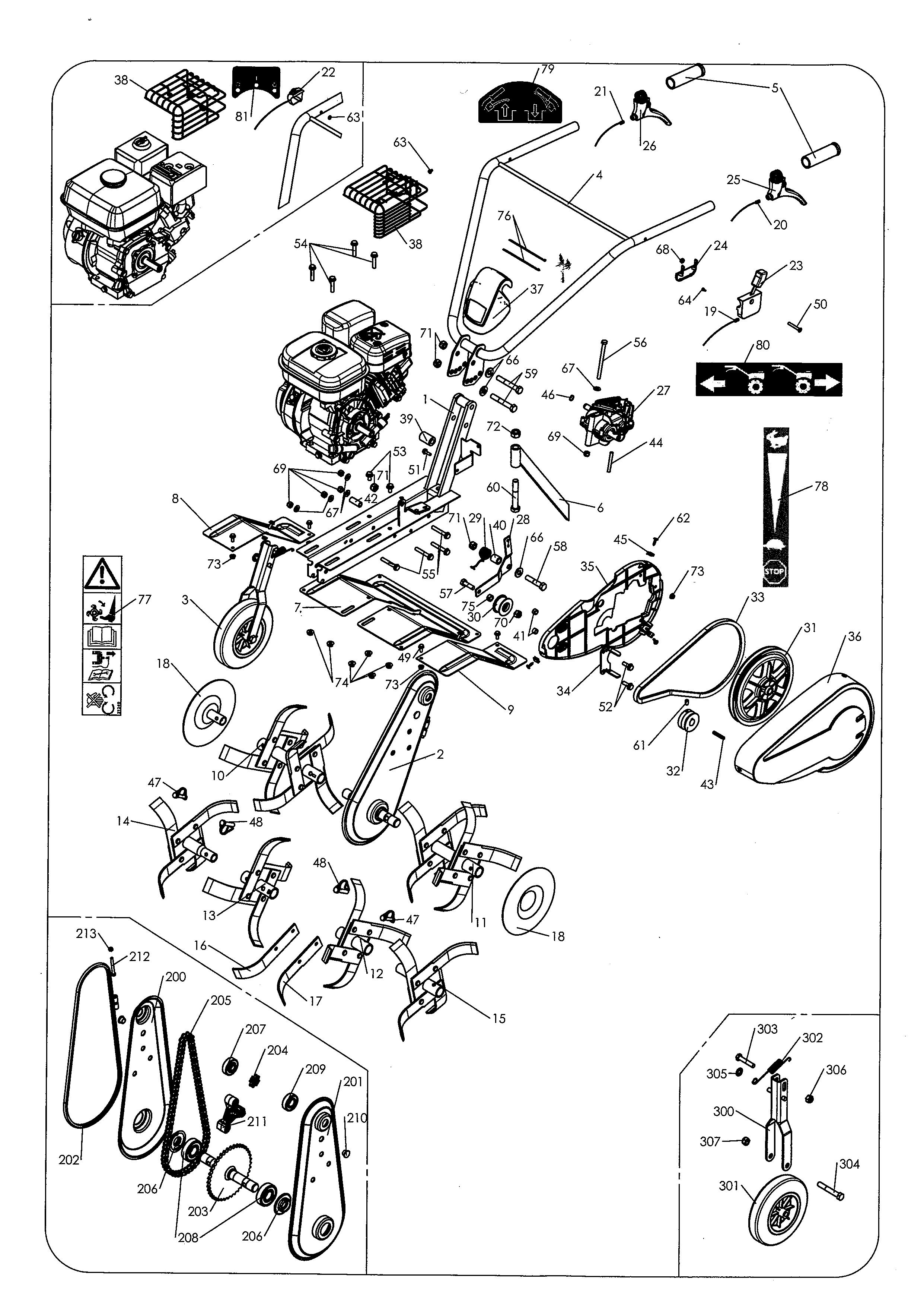 MH 4 Pro Evo Motobineuse OLEOMAC  Dessins pièces -  Vue éclatée
