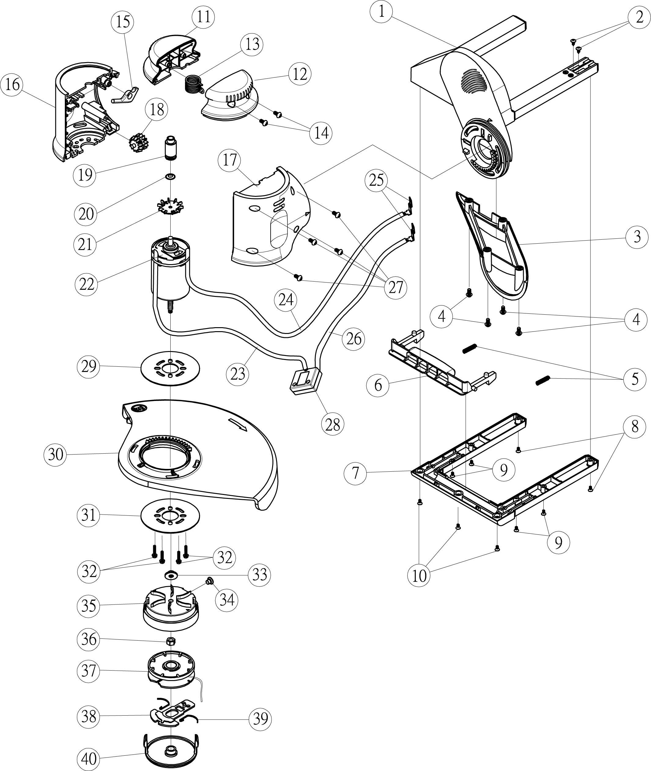 OM 461 Tondeuse à batterie  OLEOMAC vue éclatée  Dessins pièces -  Parties électriques