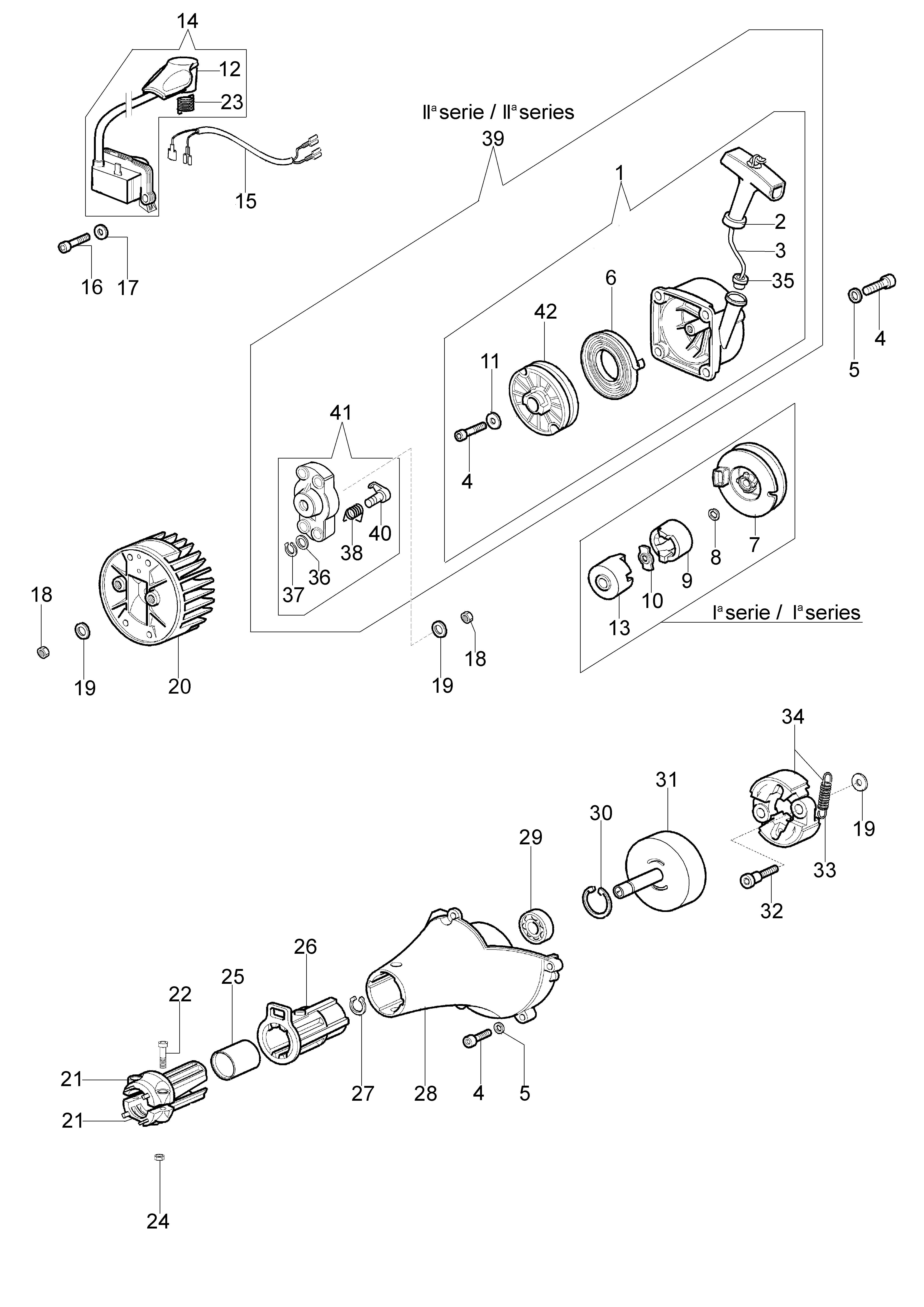 SPARTA 380 S (Euro2) oleomac Dessins pièces vue éclatée Démarrage et embrayage