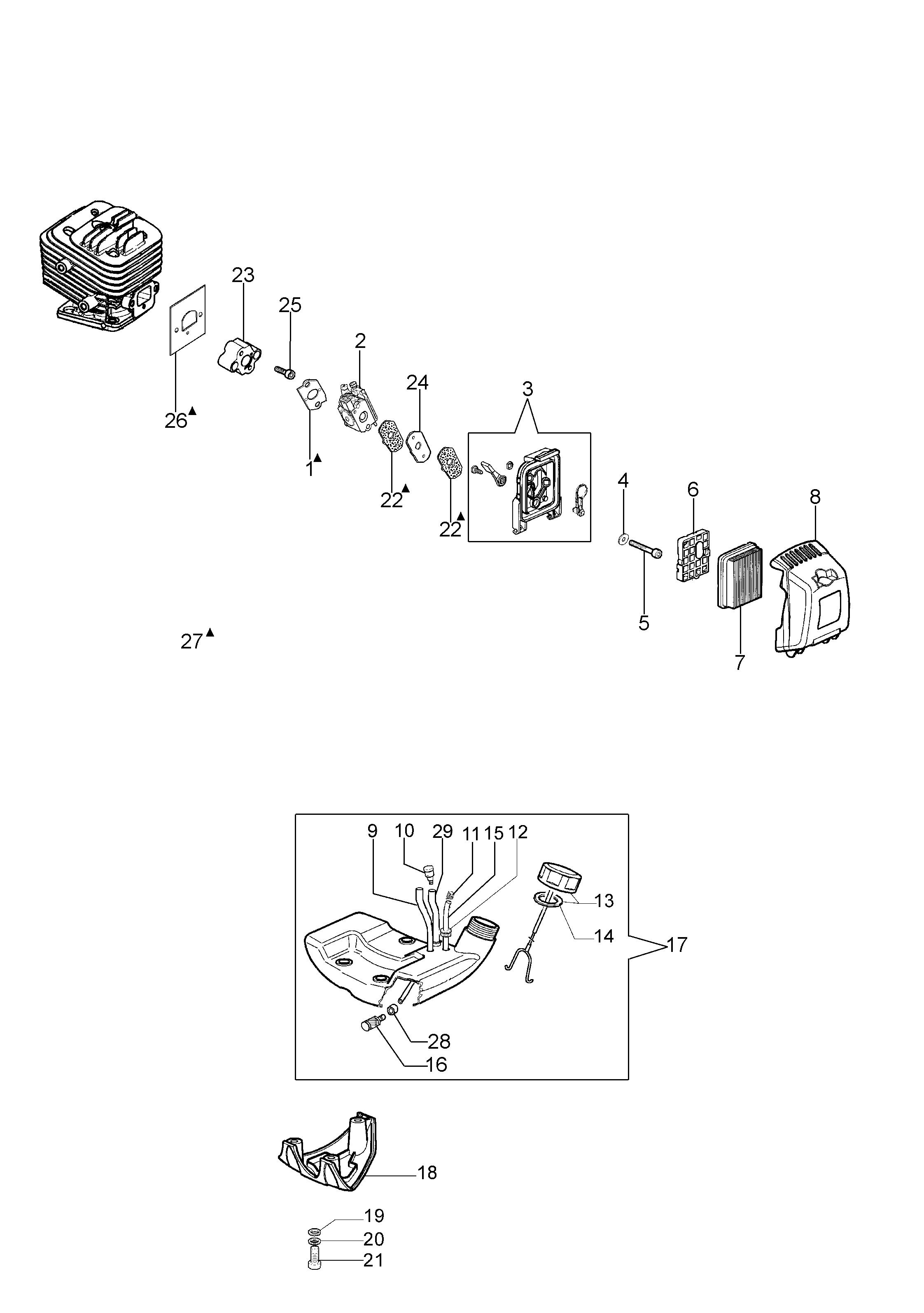 BC 280 H Taille-haies  Taille-haies OLEOMAC vue éclatée  Dessins pièces -  Réservoir et filtre air