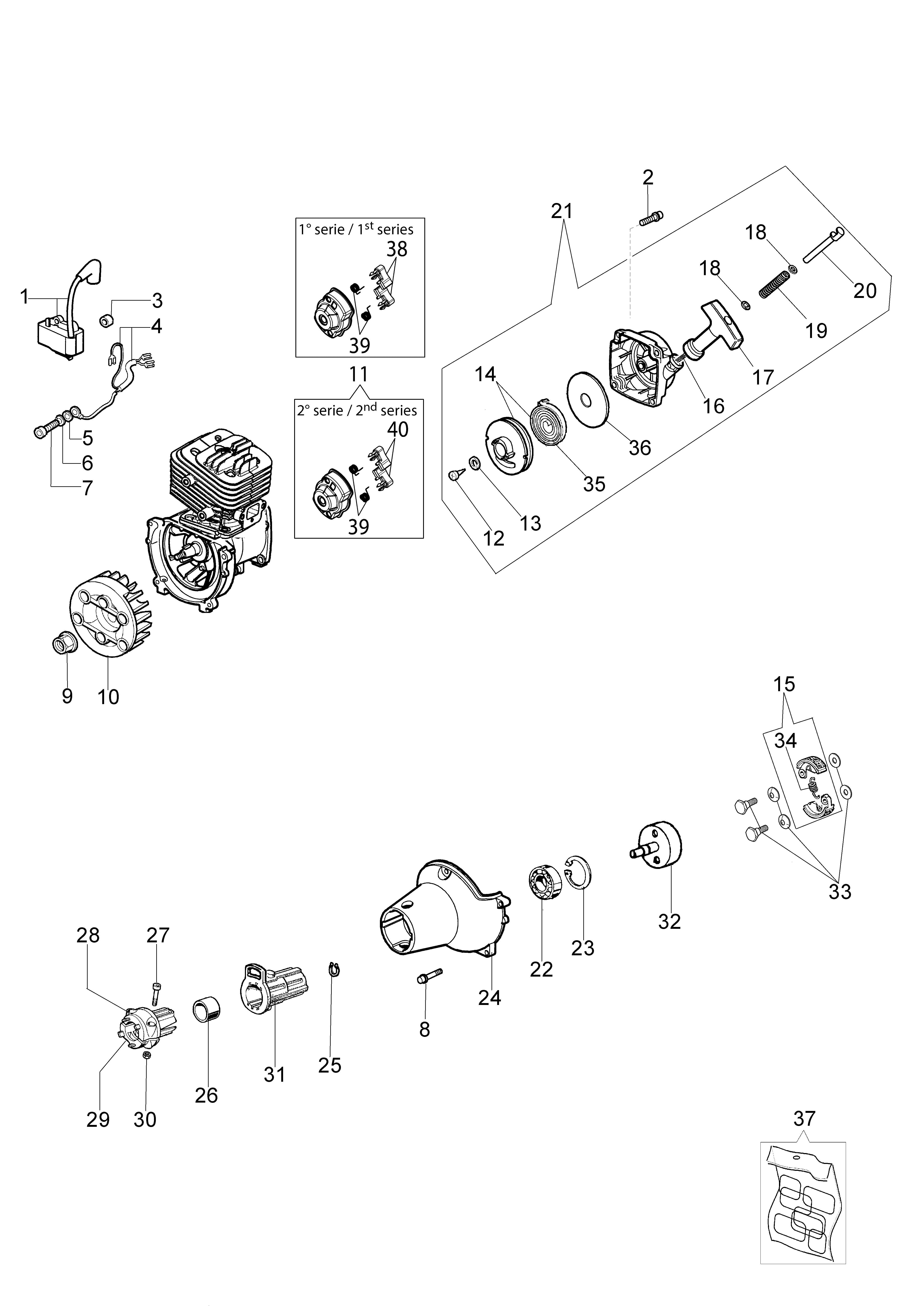 BC 280 H Taille-haies  Taille-haies OLEOMAC vue éclatée  Dessins pièces -  Démarrage et embrayage