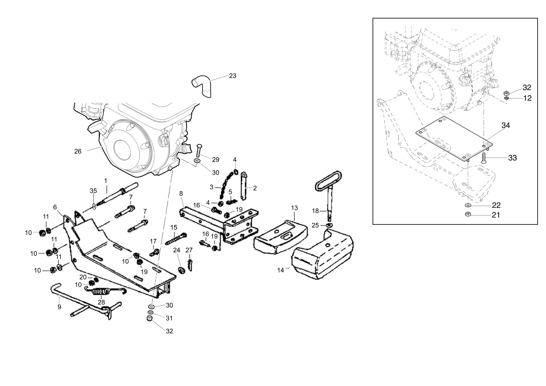 MH 250 R (EN709) Motobineuse oleomac Dessins pièces vue éclatée Contrepoids