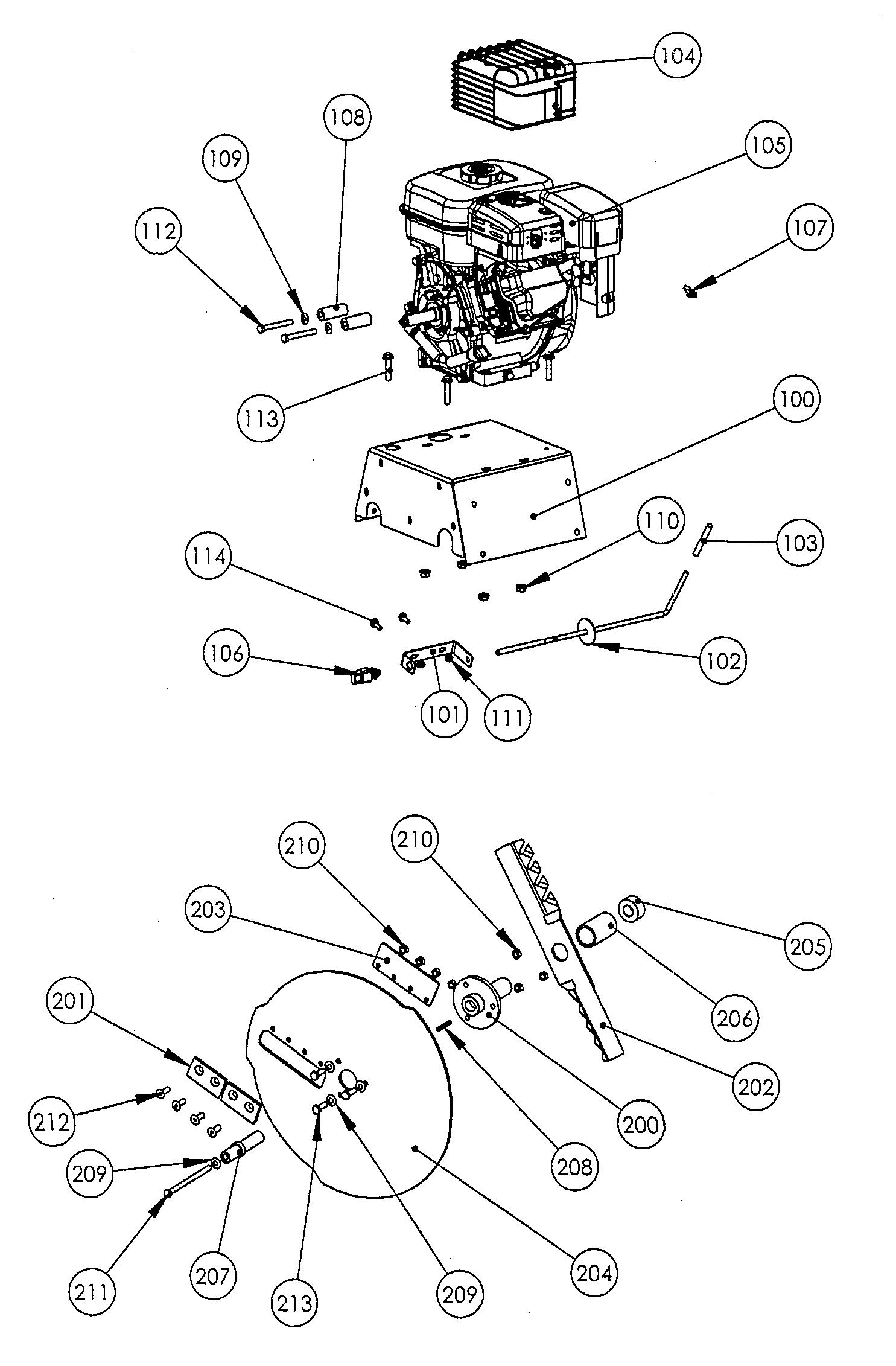 OMB 6 Broyeur à végétaux OLEOMAC Dessins pièces vue éclatée  Moteur et coupe