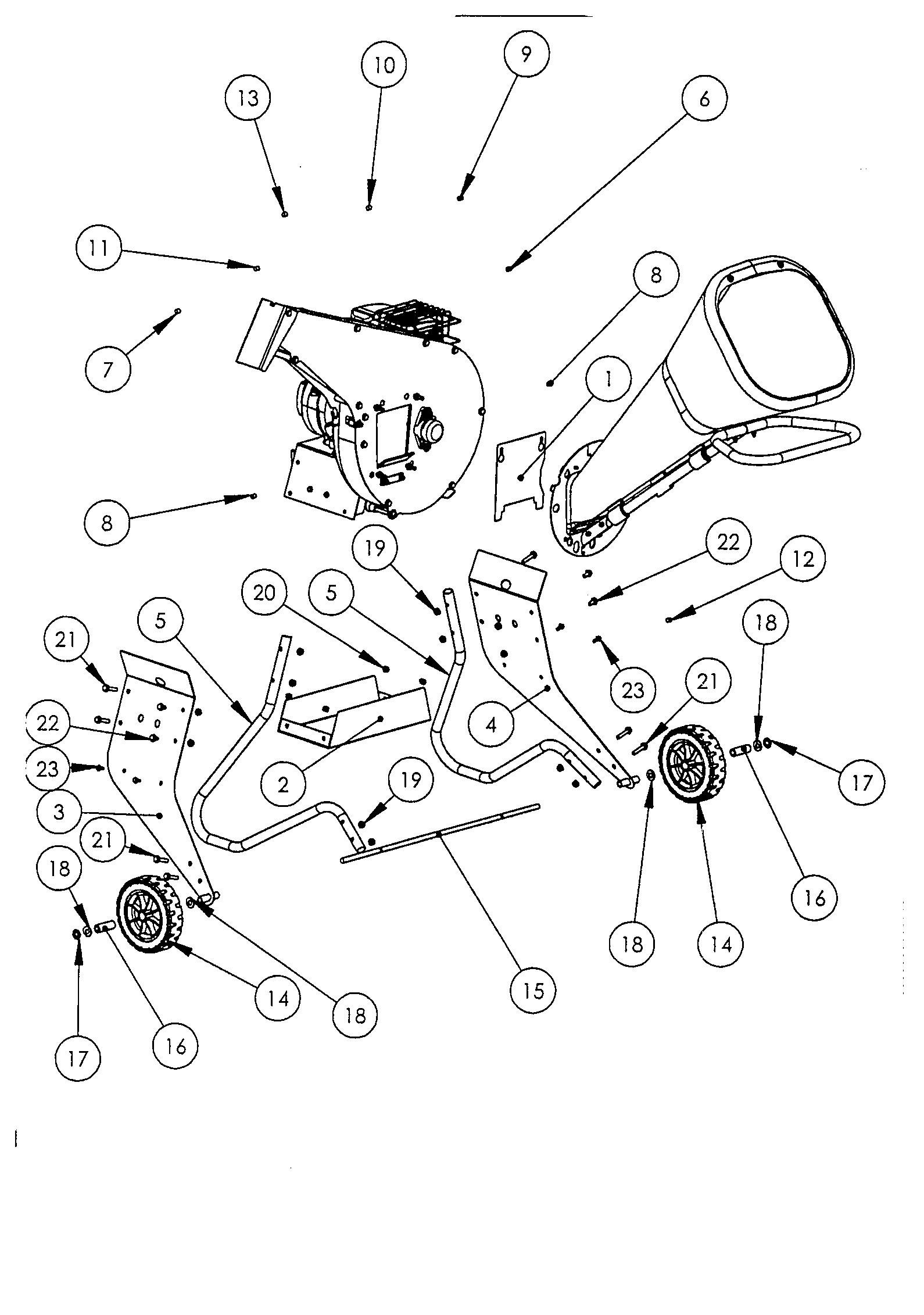 OMB 6 Broyeur à végétaux oleomac Dessins pièces vue éclatée  Châssis