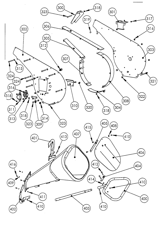 OMB 6 Broyeur à végétaux oleomac Dessins pièces vue éclatée  Goulotte