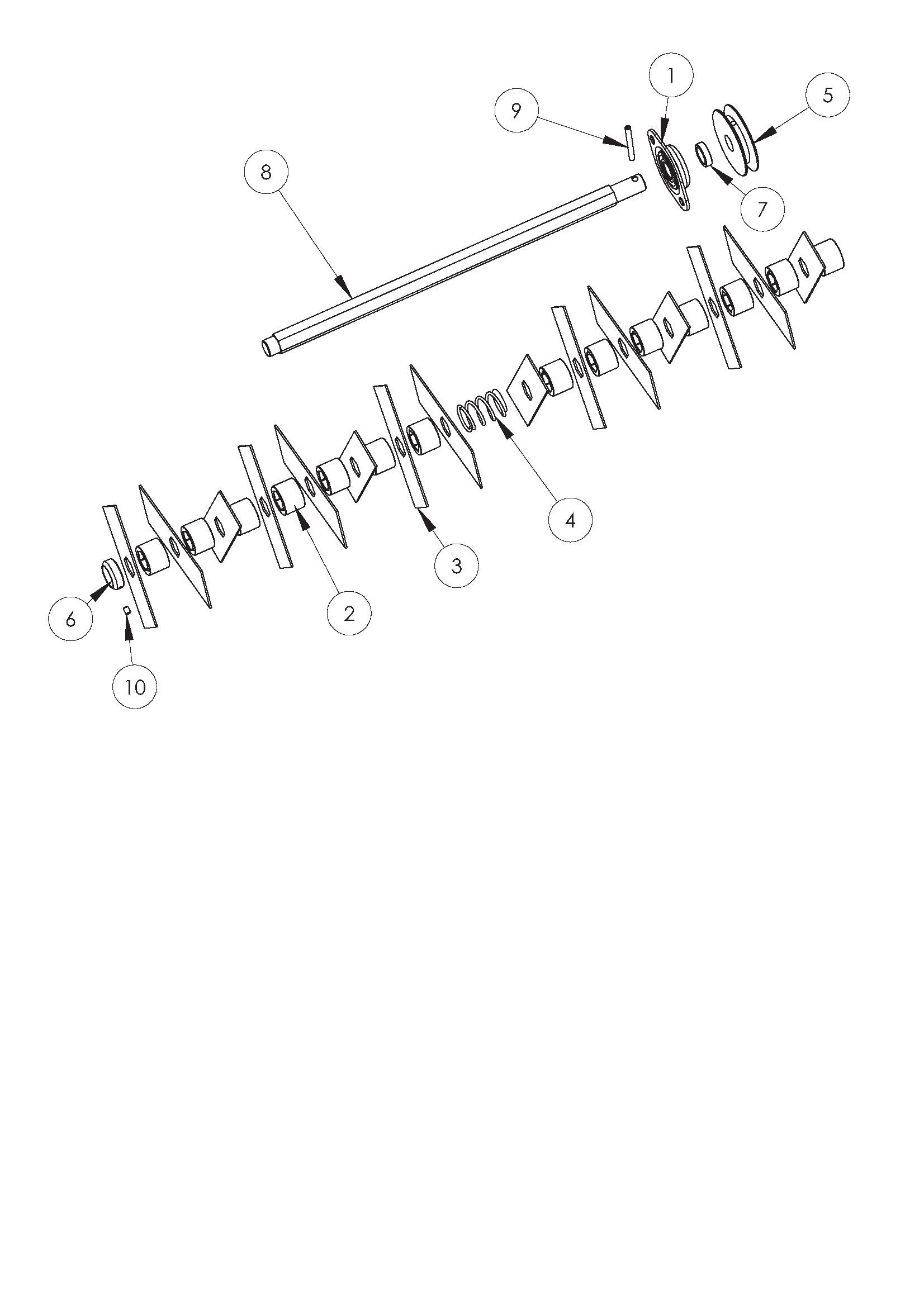 SCA 38 Aérateur OLEOMAC vue éclatée Dessins pièces -  Couteaux