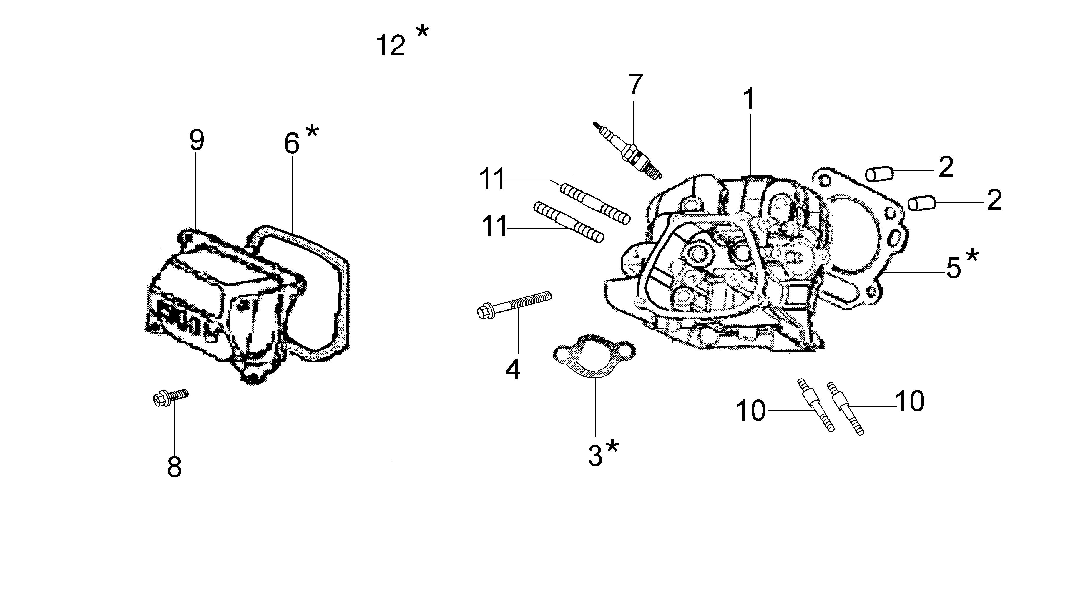 MH 180R - MH 180RK (K700 H) (EN709)Motobineuse oleomac Dessins pièces VUE éclatée Tête cylindre culasse