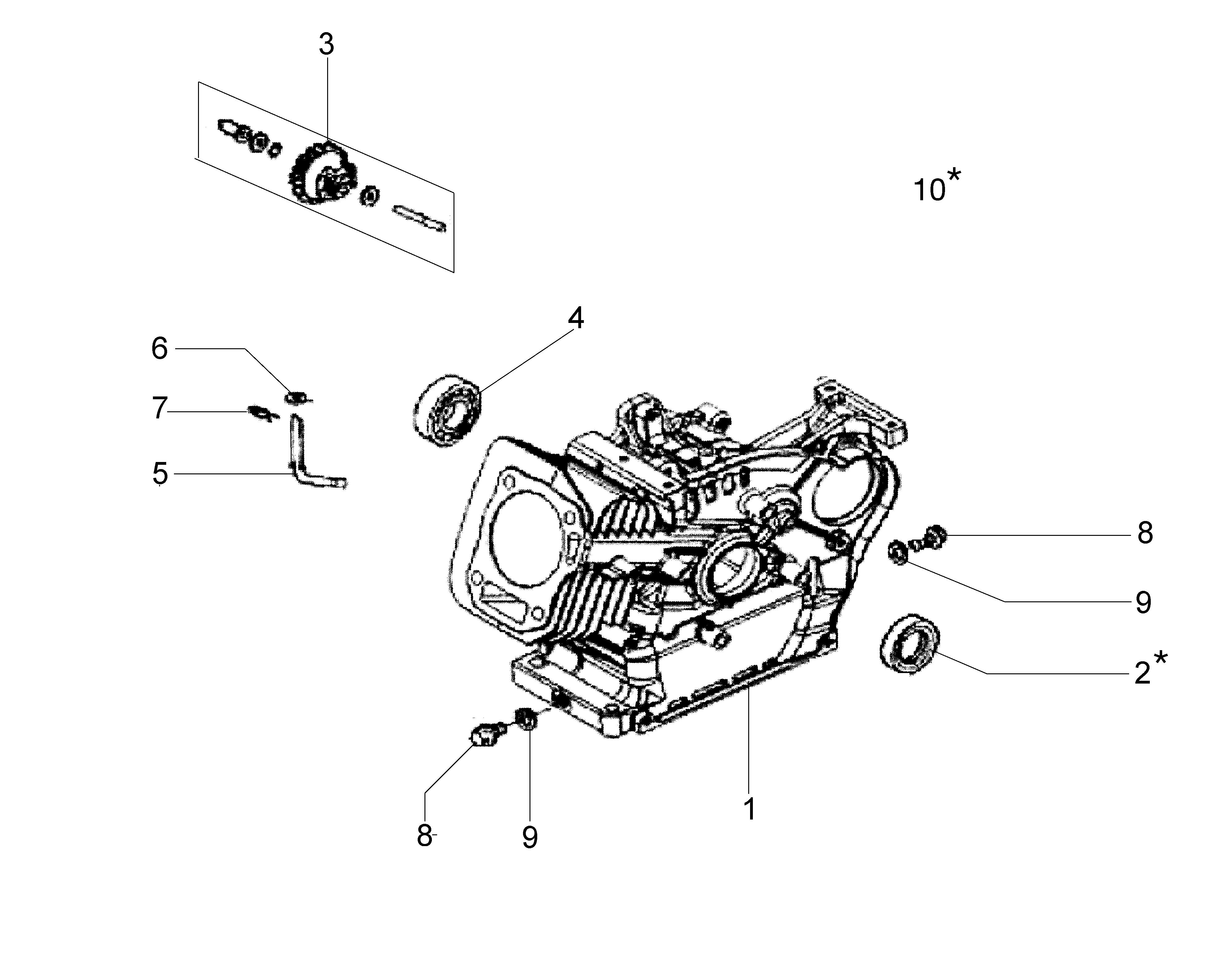 MH 180R - MH 180RK (K700 H) (EN709) Motobineuse oleomac Dessins pièces vue éclaté Carter moteur