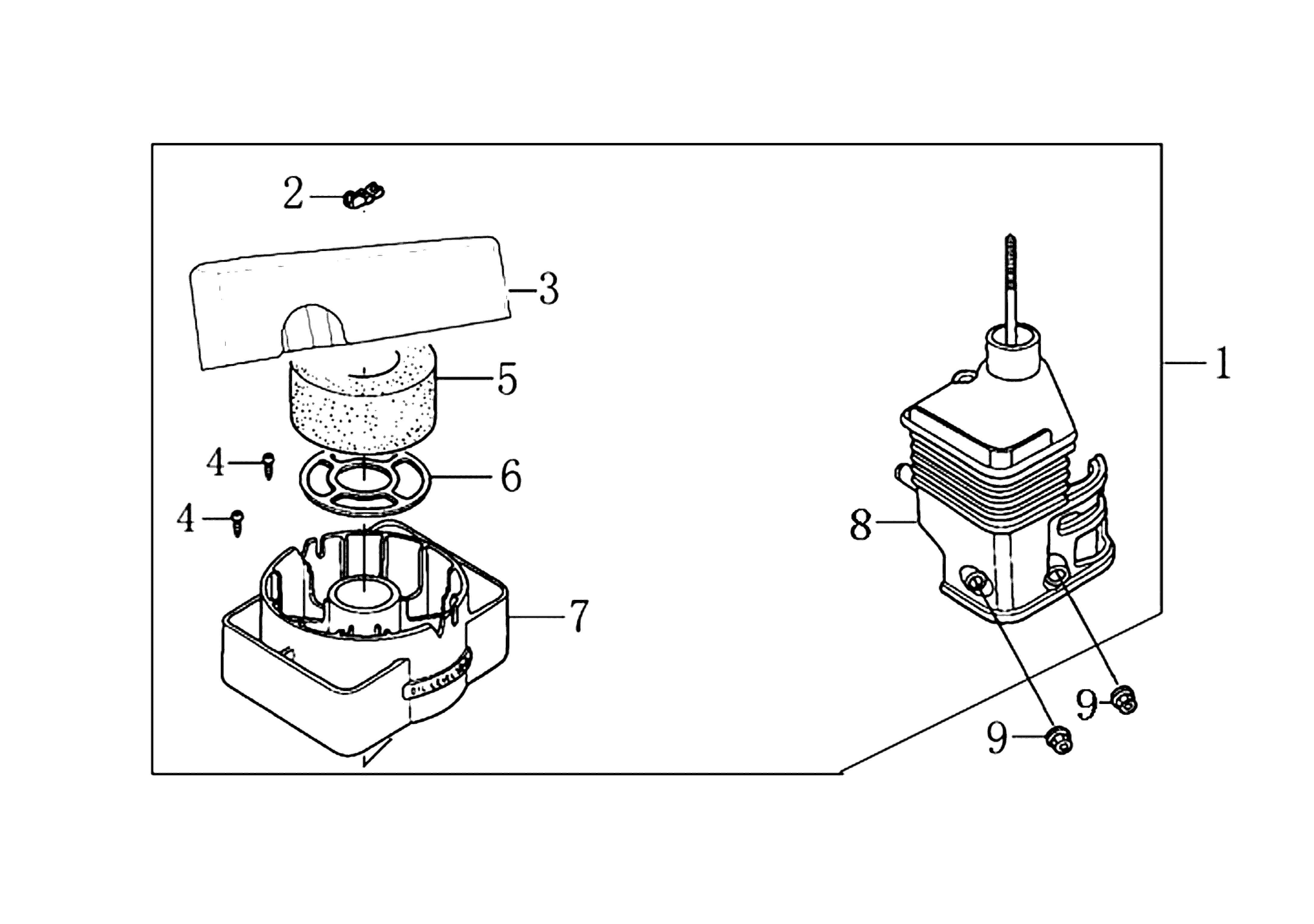 MH 180R - MH 180RK (K700 H) (EN709) Motobineuse oleomac Dessins pièces vue éclatée Filtre air