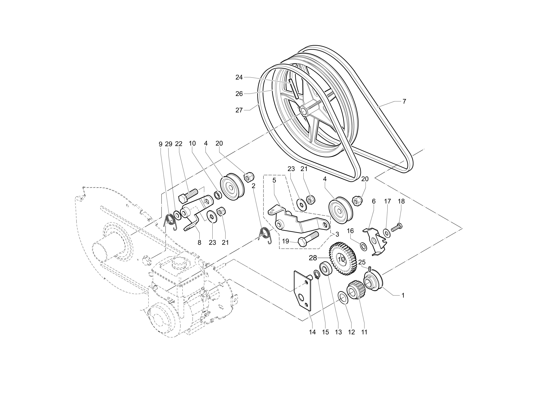 MH 180R - MH 180RK (K700 H) (EN709) Motobineuse OLEOMAC Dessins pièces VUE ECLATEE Engrenages