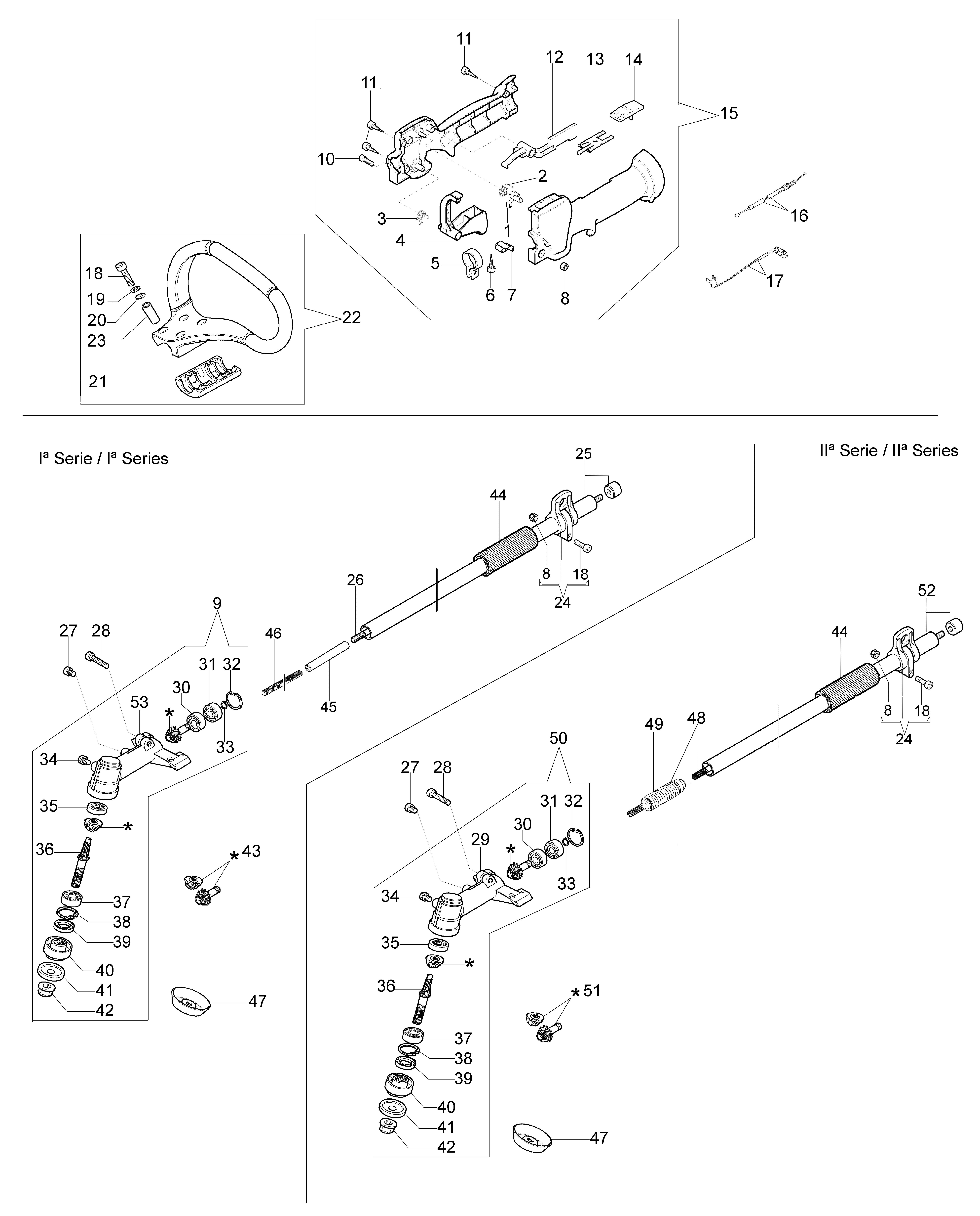 BC 320 S oleomac Dessins pièces vue éclatée Transmission