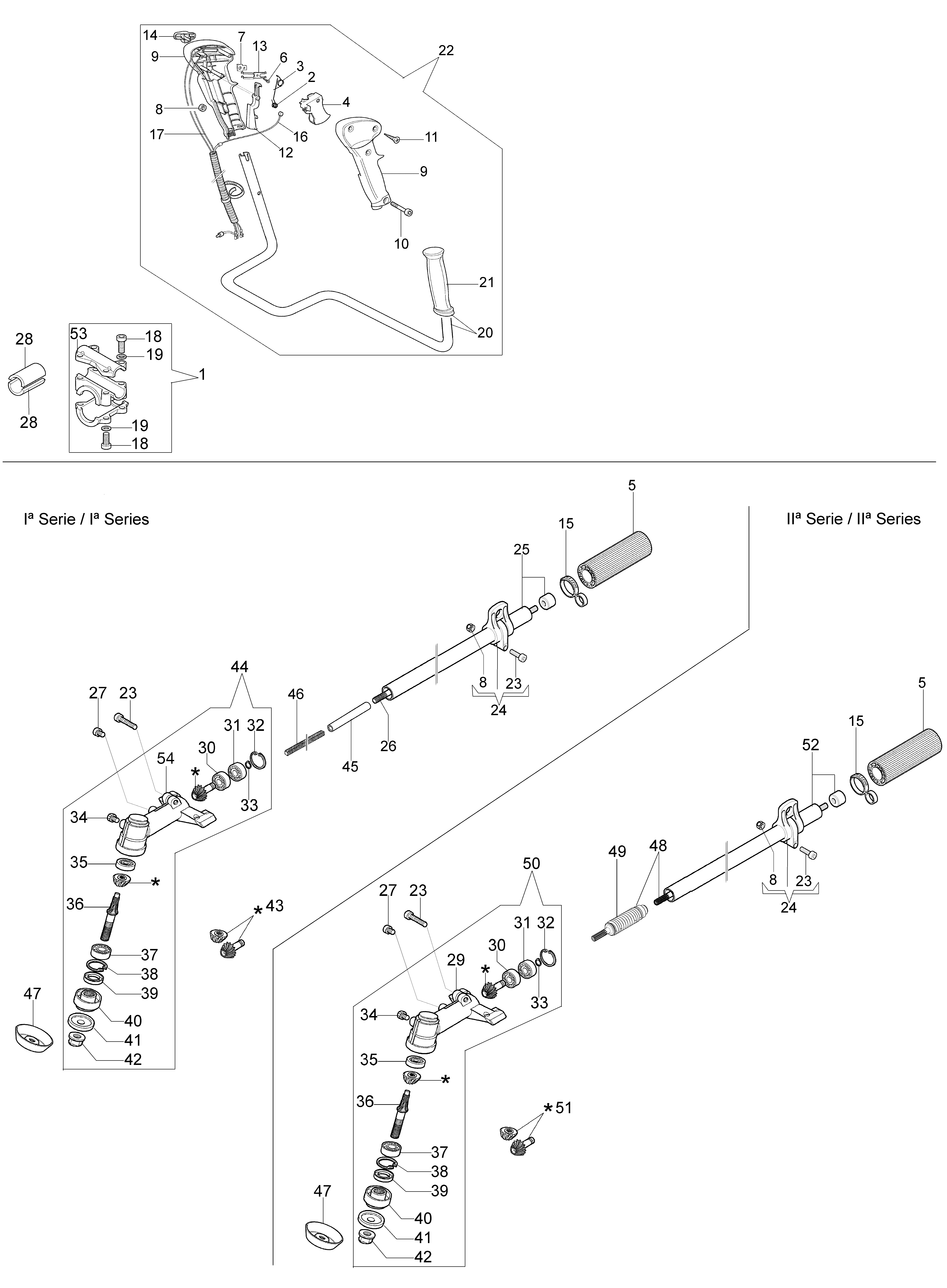 BC 320 T oleomac Dessins pièces vue éclatée Transmission