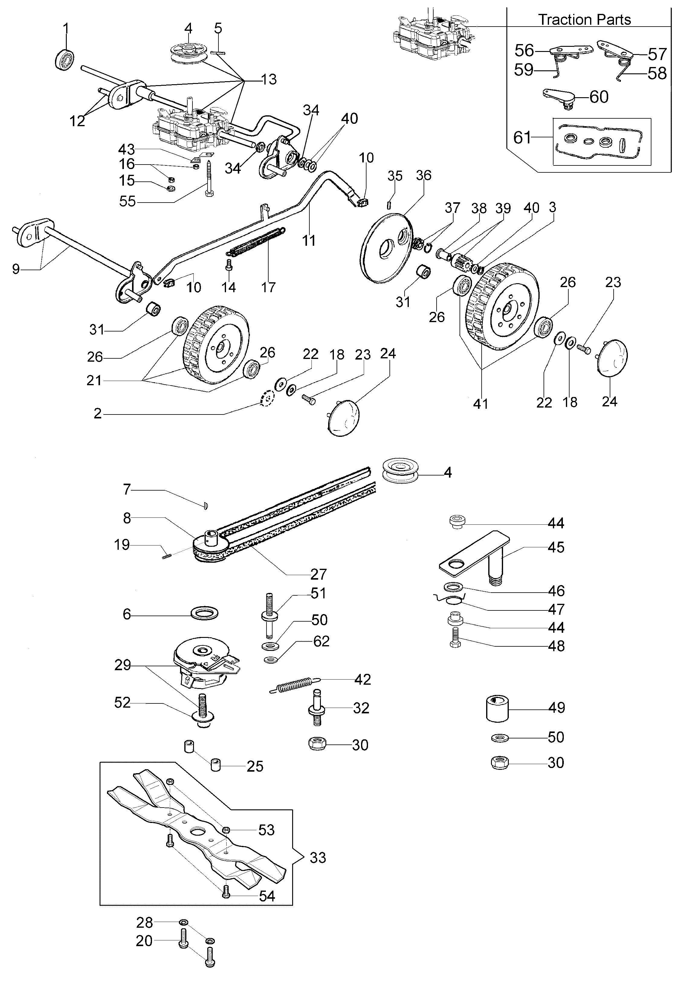 LUX 55 HXF Oleomac vue éclatée Dessins pièces -  Groupe essieu (Jusqu a février 13)
