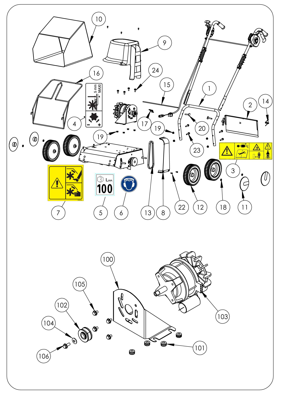 SCA elec Scarificateur OLEOMAC vue éclatée Dessins pièces -  Moteur et châssis