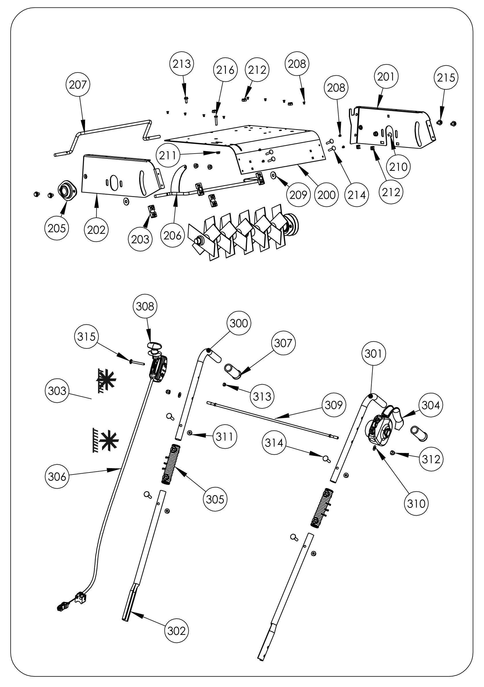 SCA elec Scarificateur OLEOMAC vue éclatée Dessins pièces -  Carter et guidon