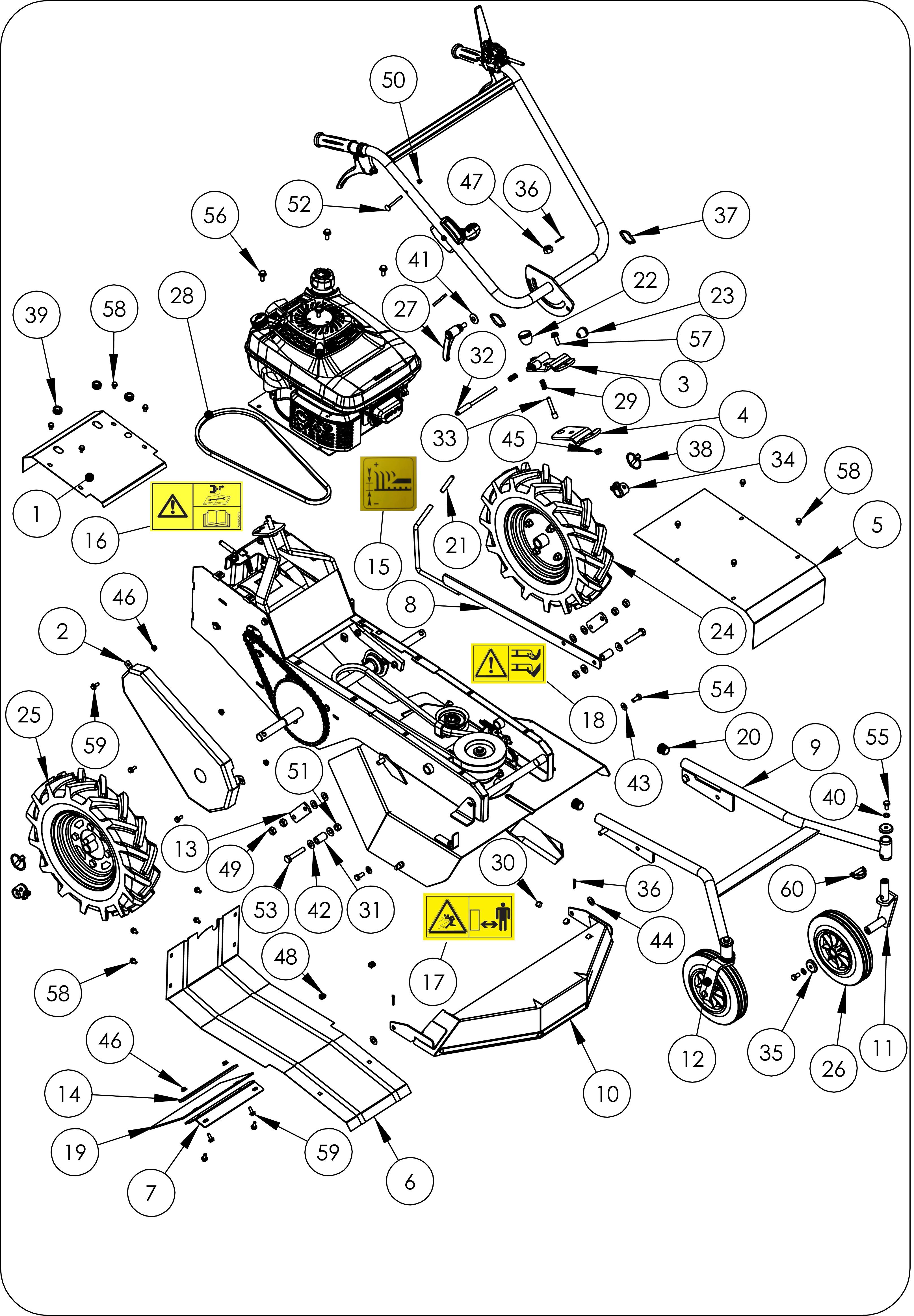 TDF 60 Débroussailleuse à roues  oleomac vue éclatée  Dessins pièces -  Châssis