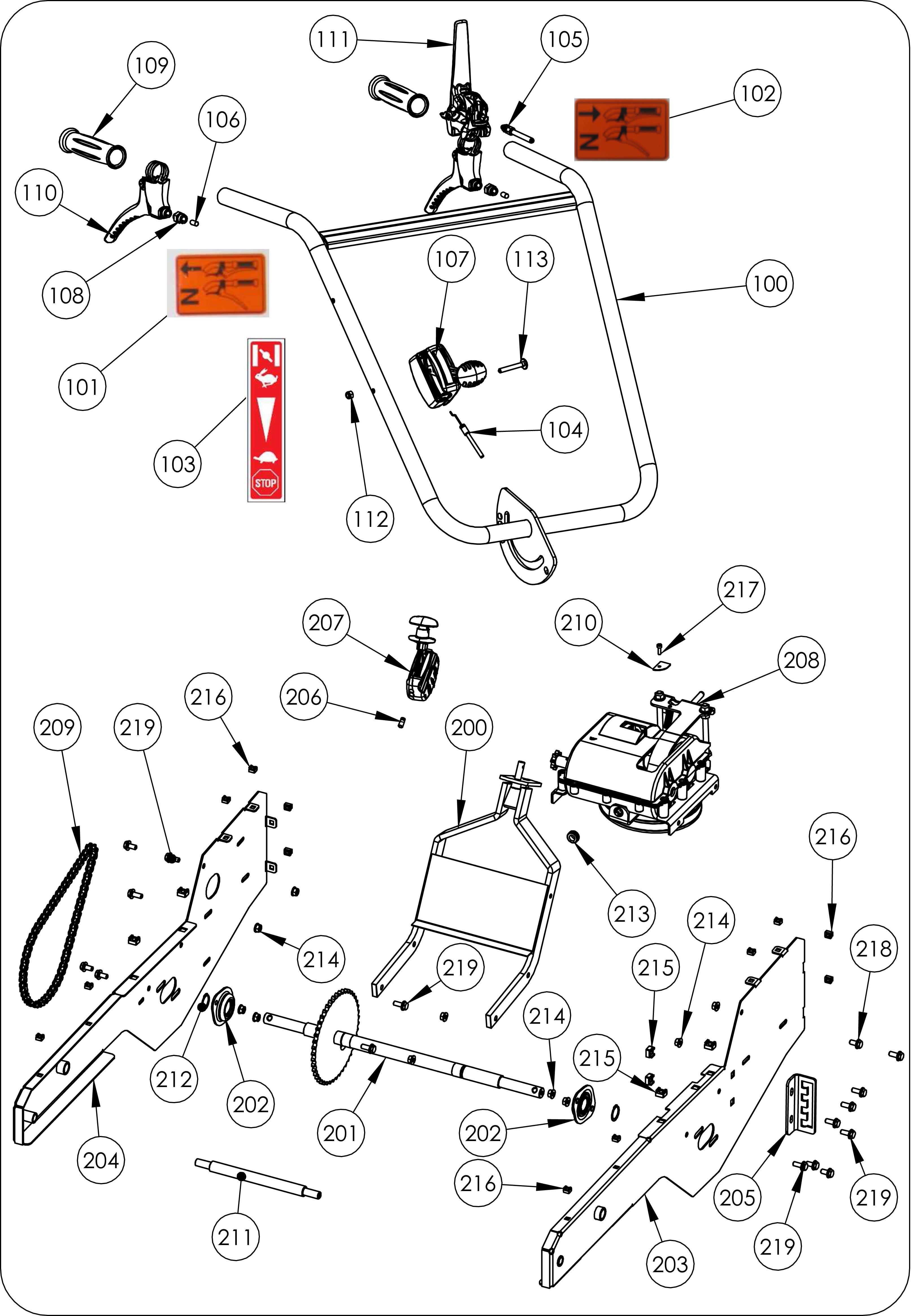TDF 60 Débroussailleuse à roues  oleomac vue éclatée  Dessins pièces -  Mancheron