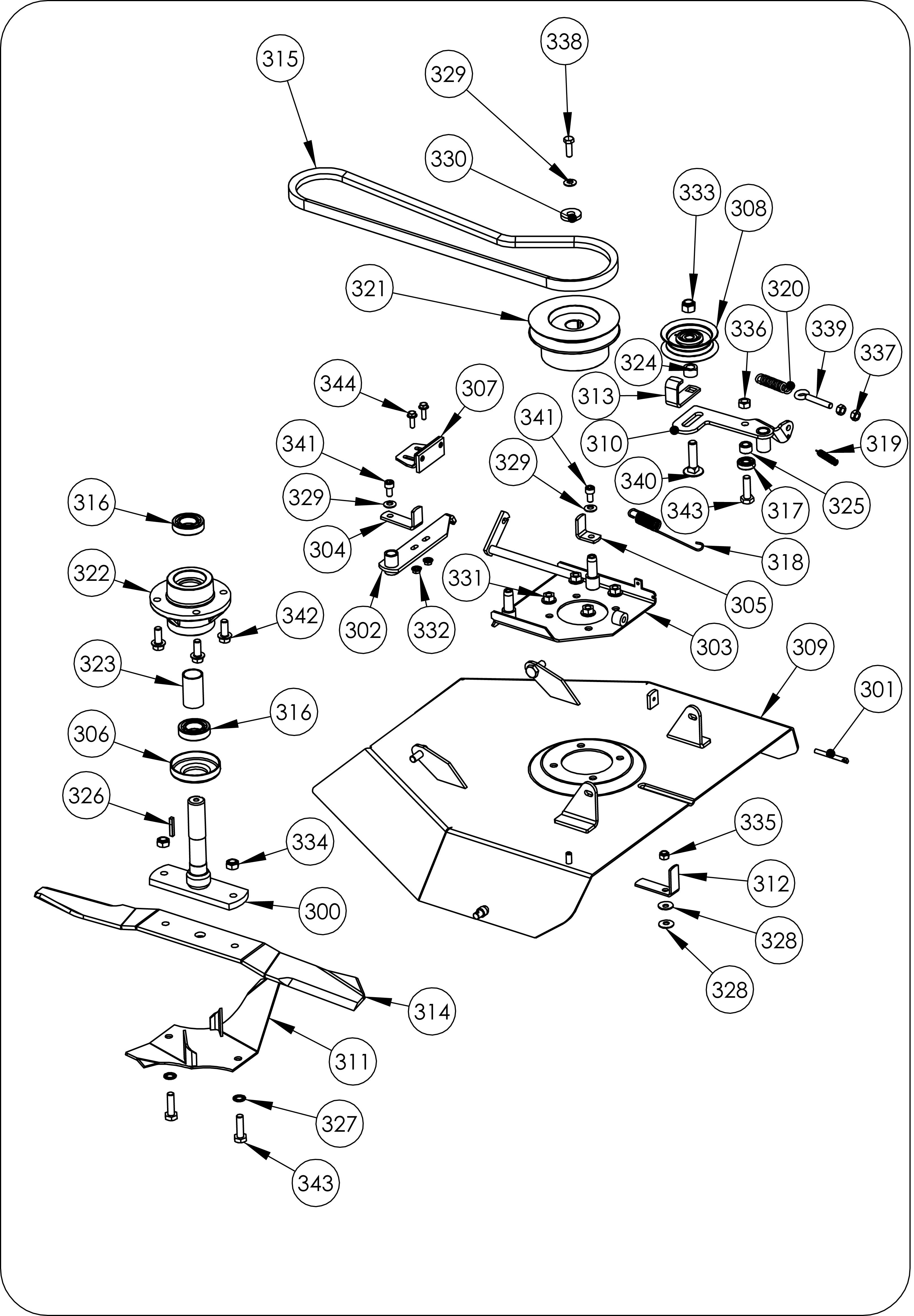 TDF 60 Débroussailleuse à roues  Dessins pièces -  Carter de coupe