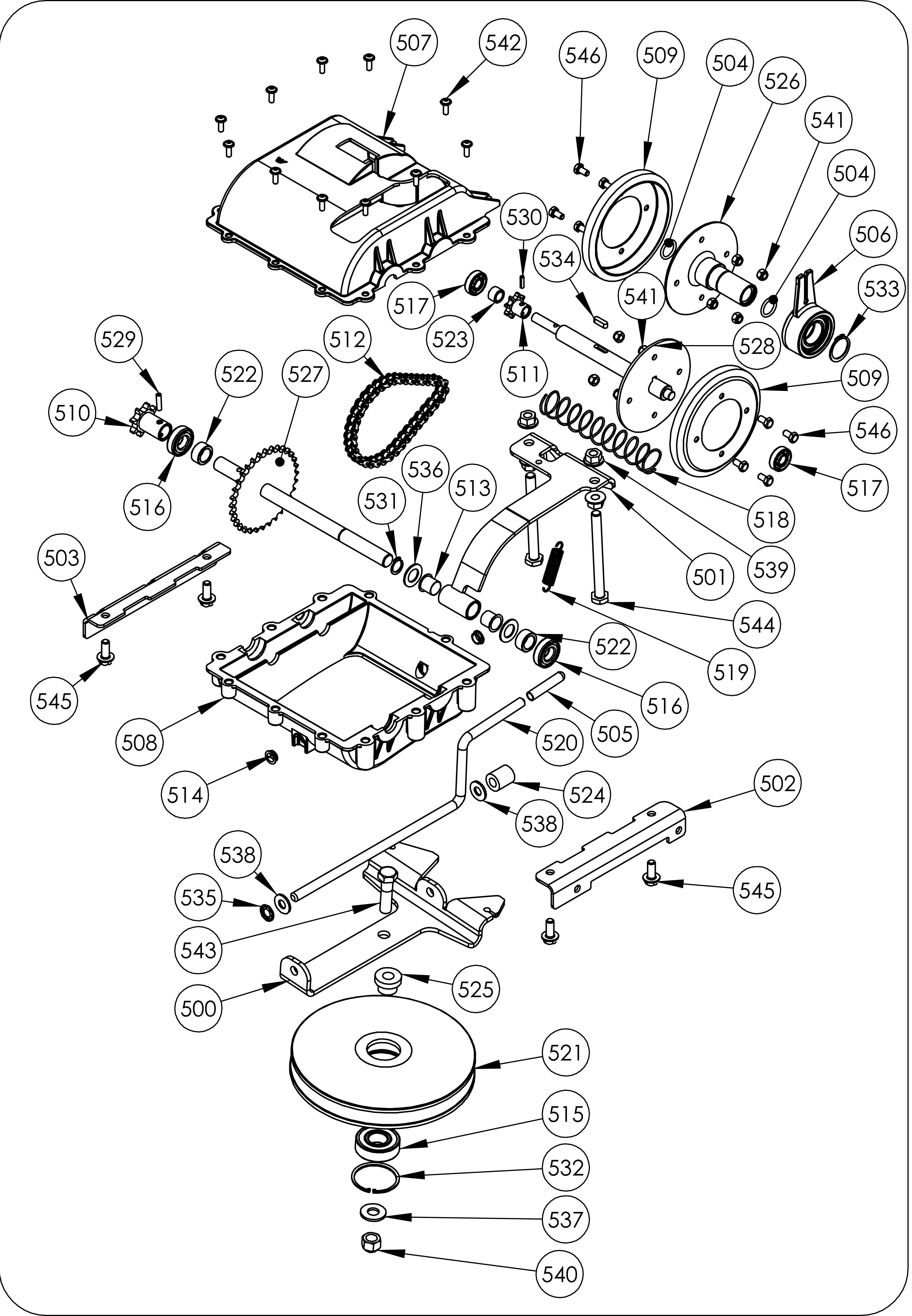 TDF 60 Débroussailleuse à roues oleomac vue éclatée Dessins pièces -  Transmission
