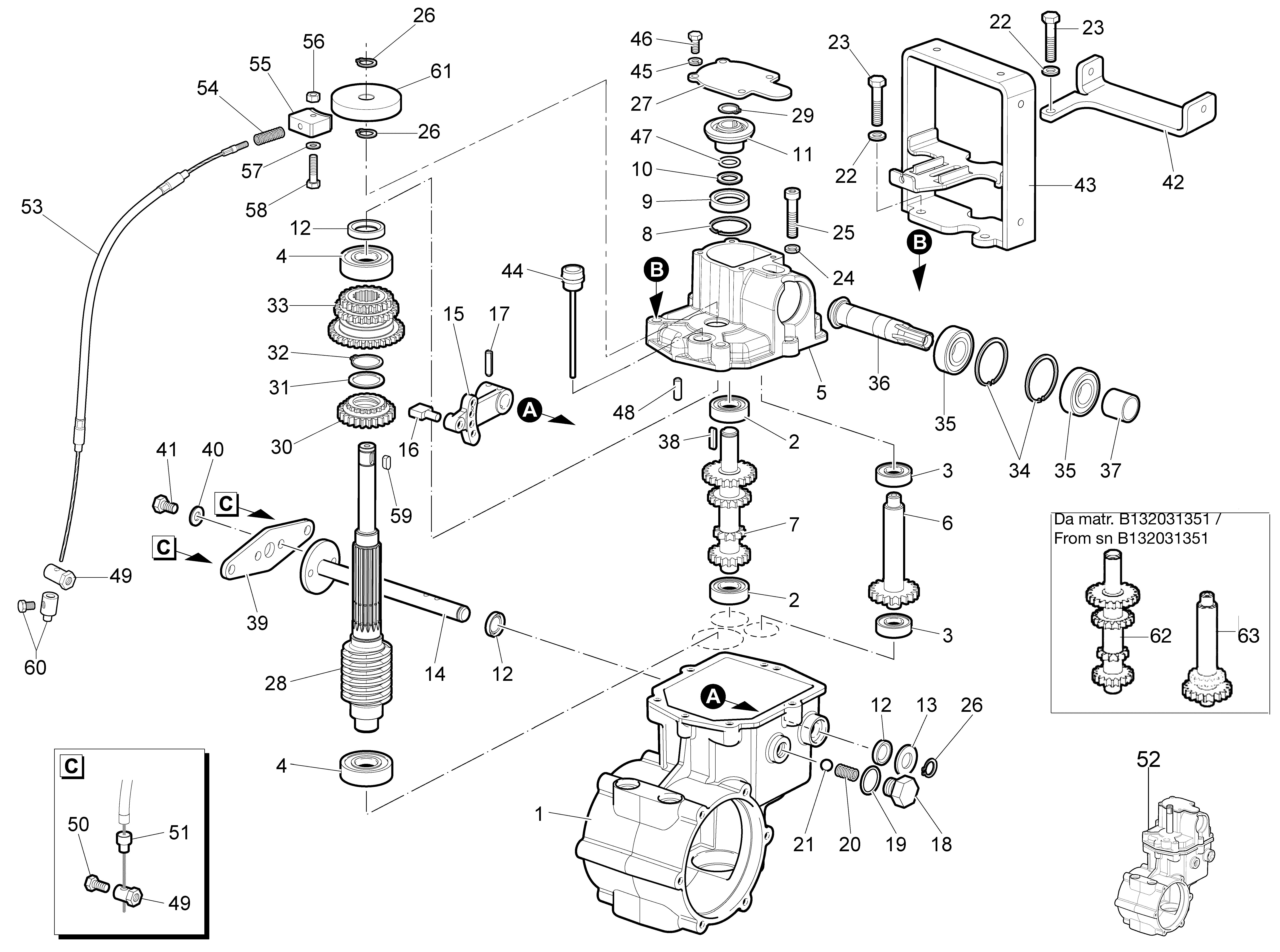 WB 80 KR 11 Tondeuse à fléaux  Oleomac Vue éclatée  Dessins pièces -  Engrenages de la boite a vitesse - avec frein jusqu au sn B133181825