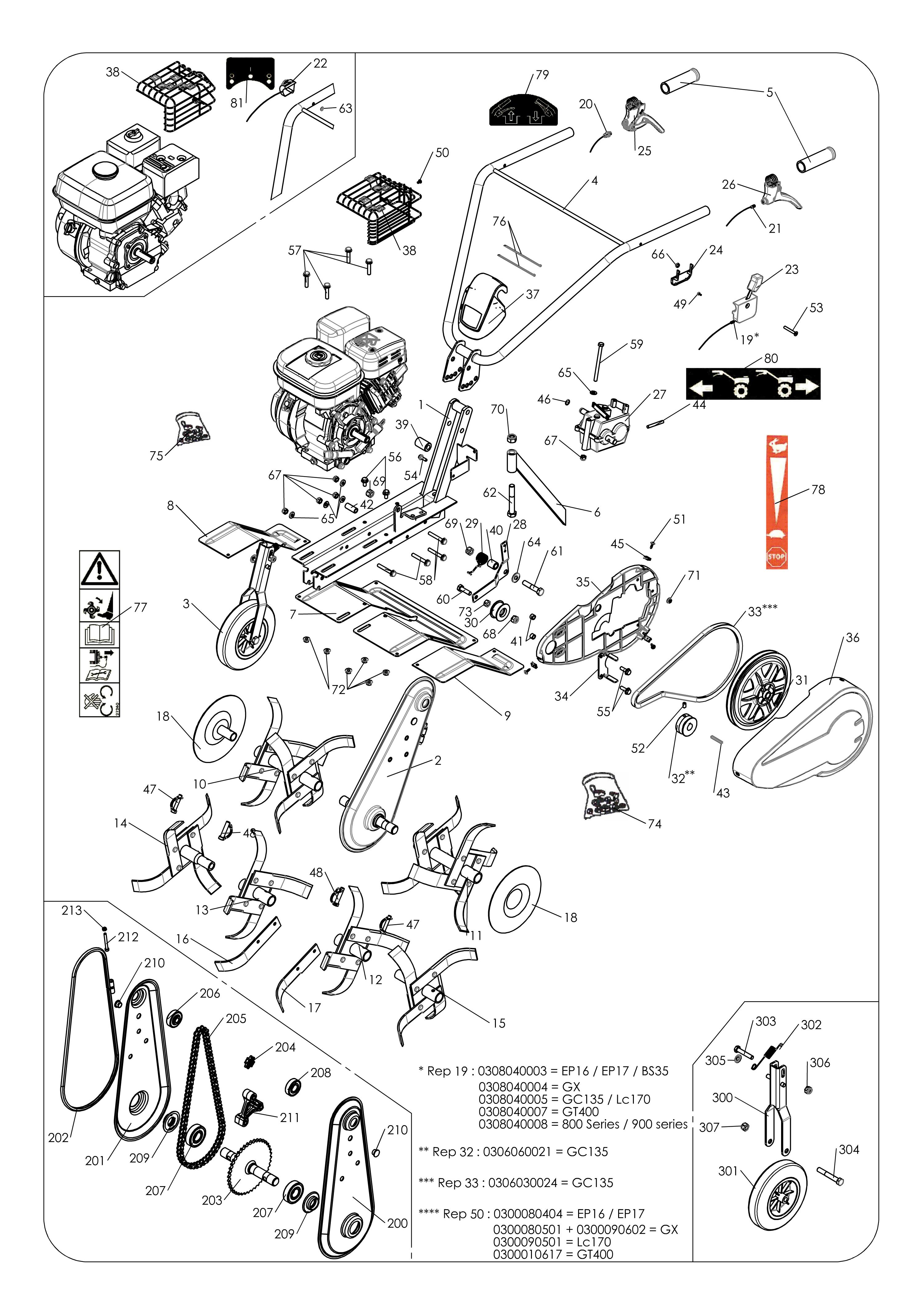 MH 4 PRO version 2011 Motobineuse OLEOMAC Dessins pièces -  Vue éclatée