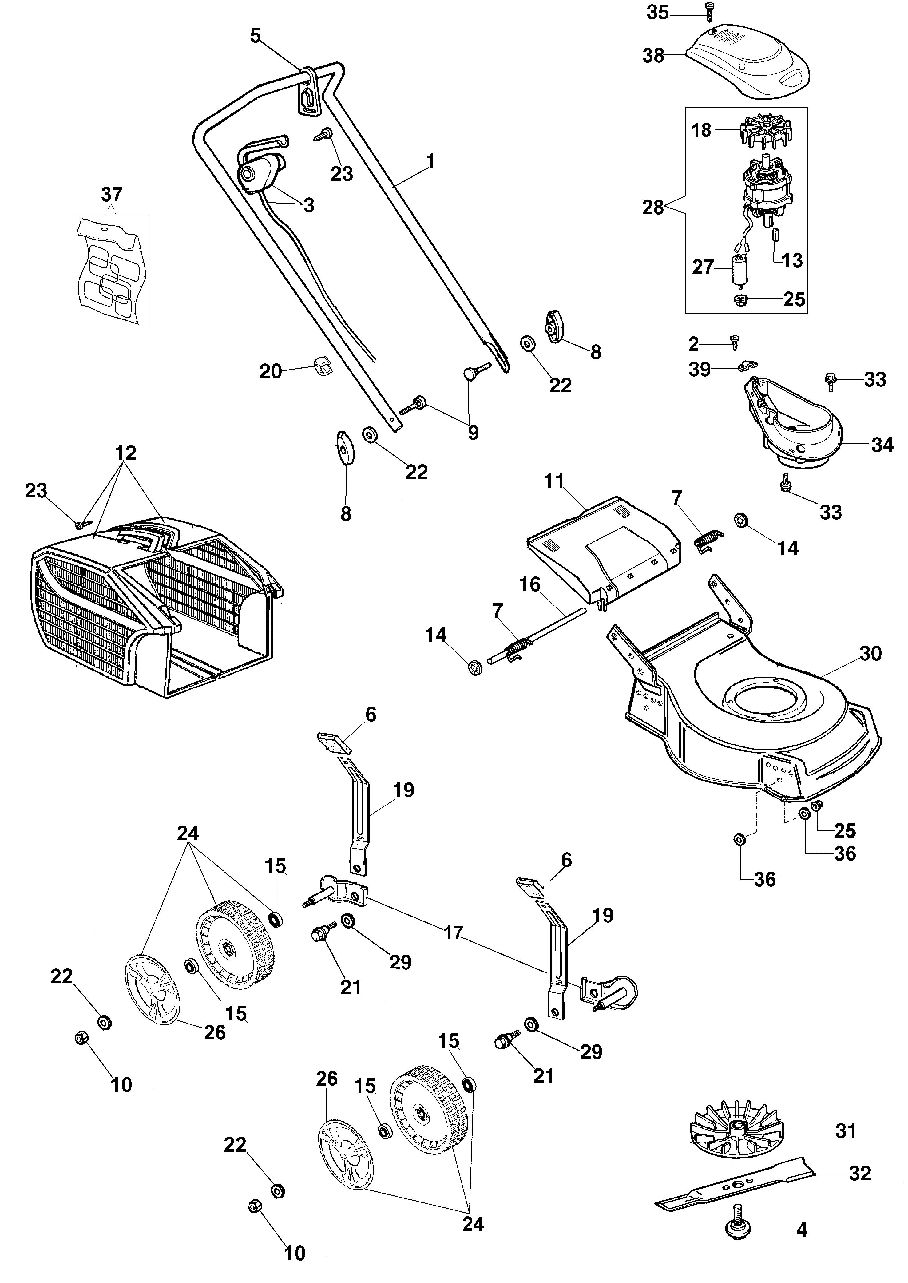 G 44 PE Tondeuse électrique oleomac Dessins pièces -  Vue éclatée complète ESSENTIAL (Depuis janvier 2012)
