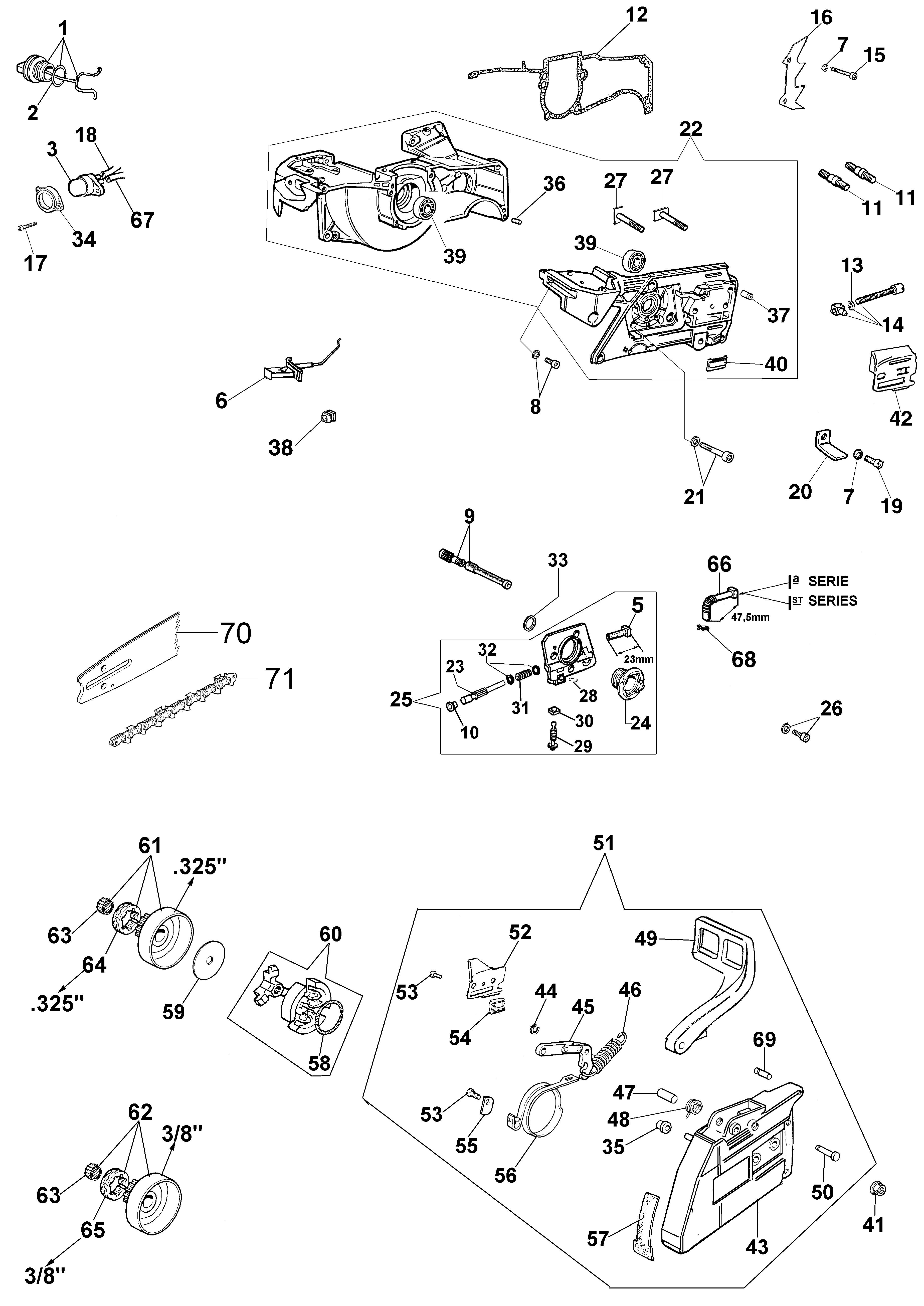 962 Tronçonneuse oleomac Dessins pièces vue éclatée Carter moteur et frein