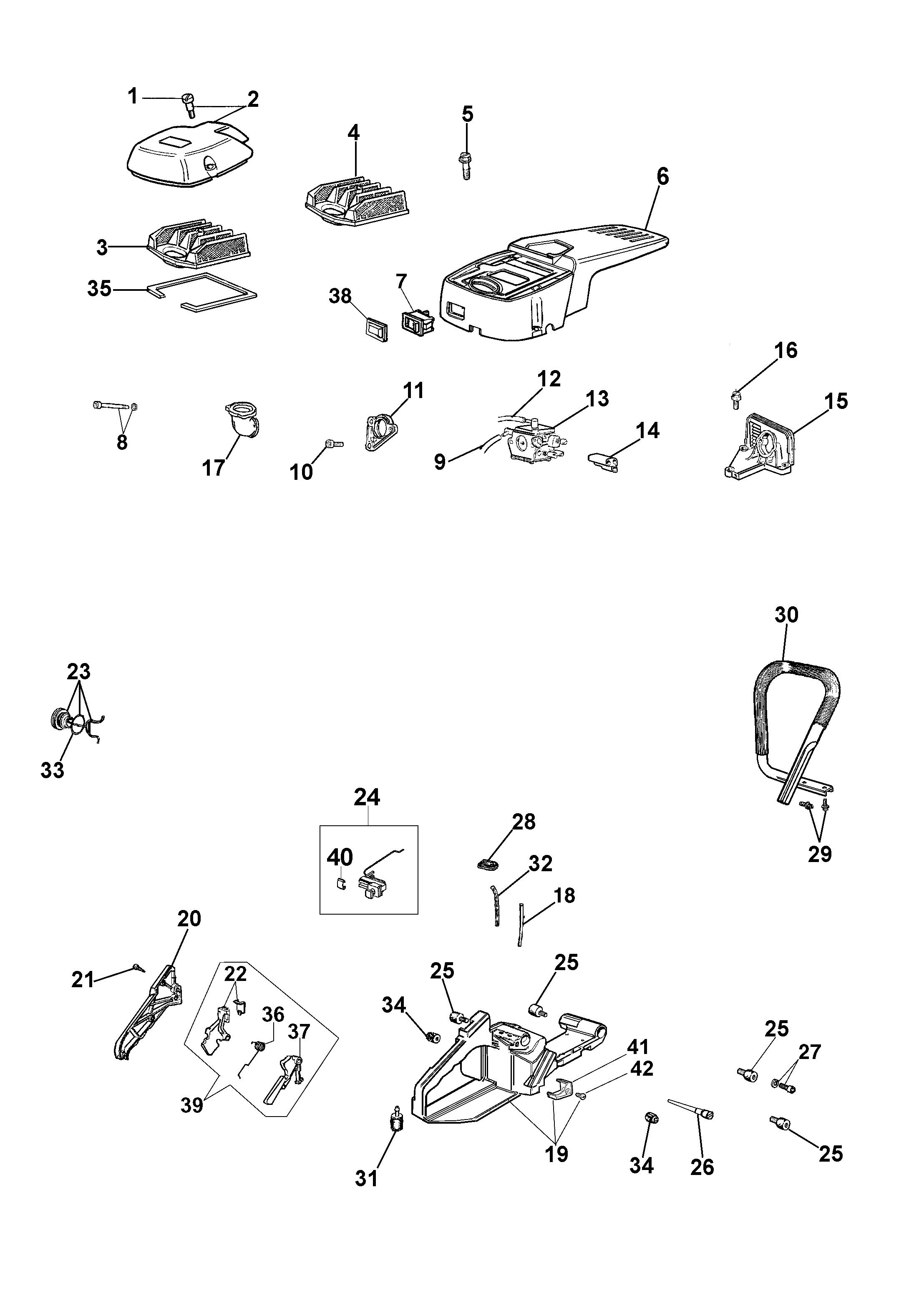 962 Tronçonneuse oleomac Dessins pièces vue éclatée Réservoir et filtre air