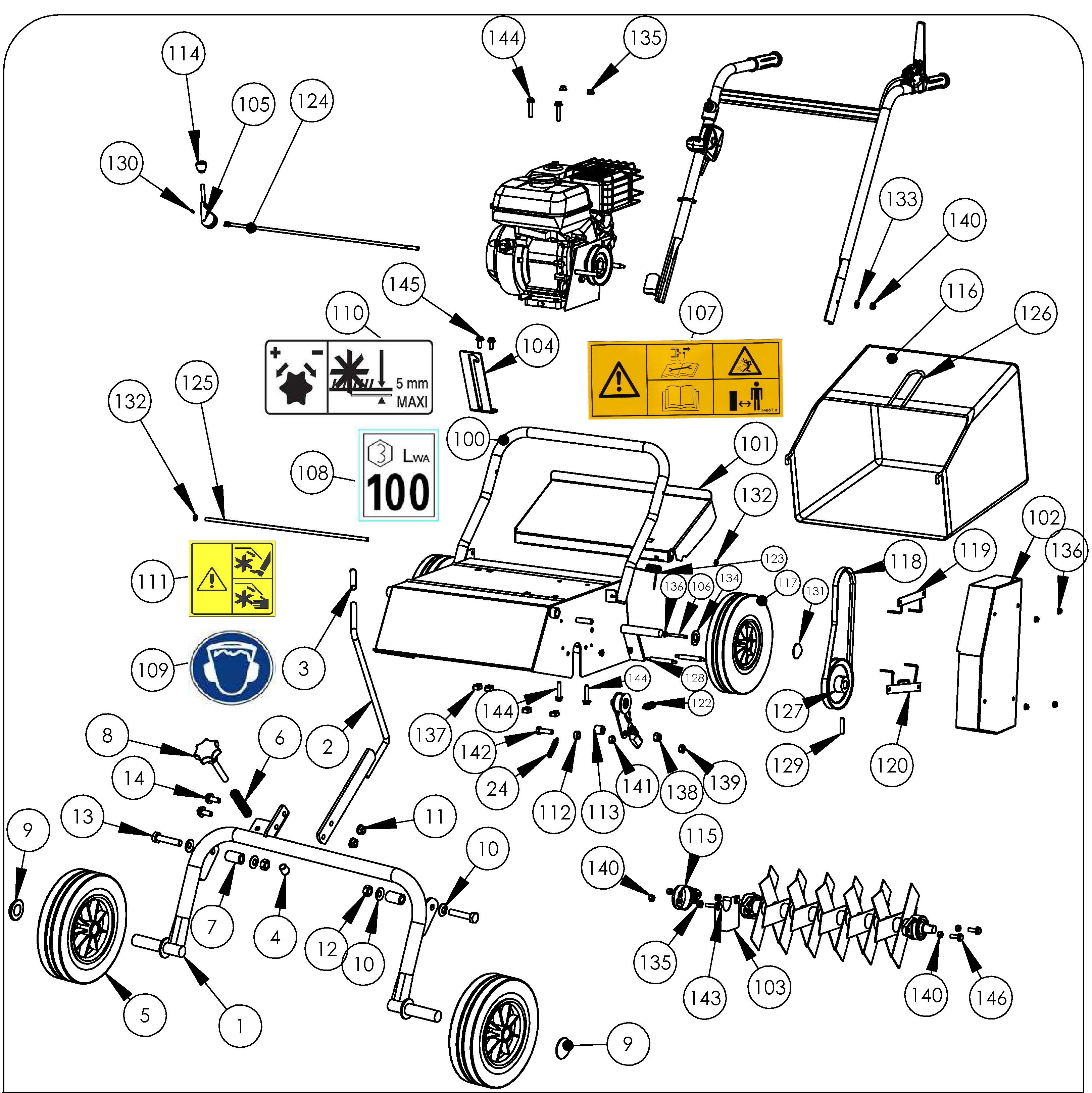 SCA 40 version 2011 Scarificateur  OLEOMAC vue éclatée  Dessins pièces -  Châssis