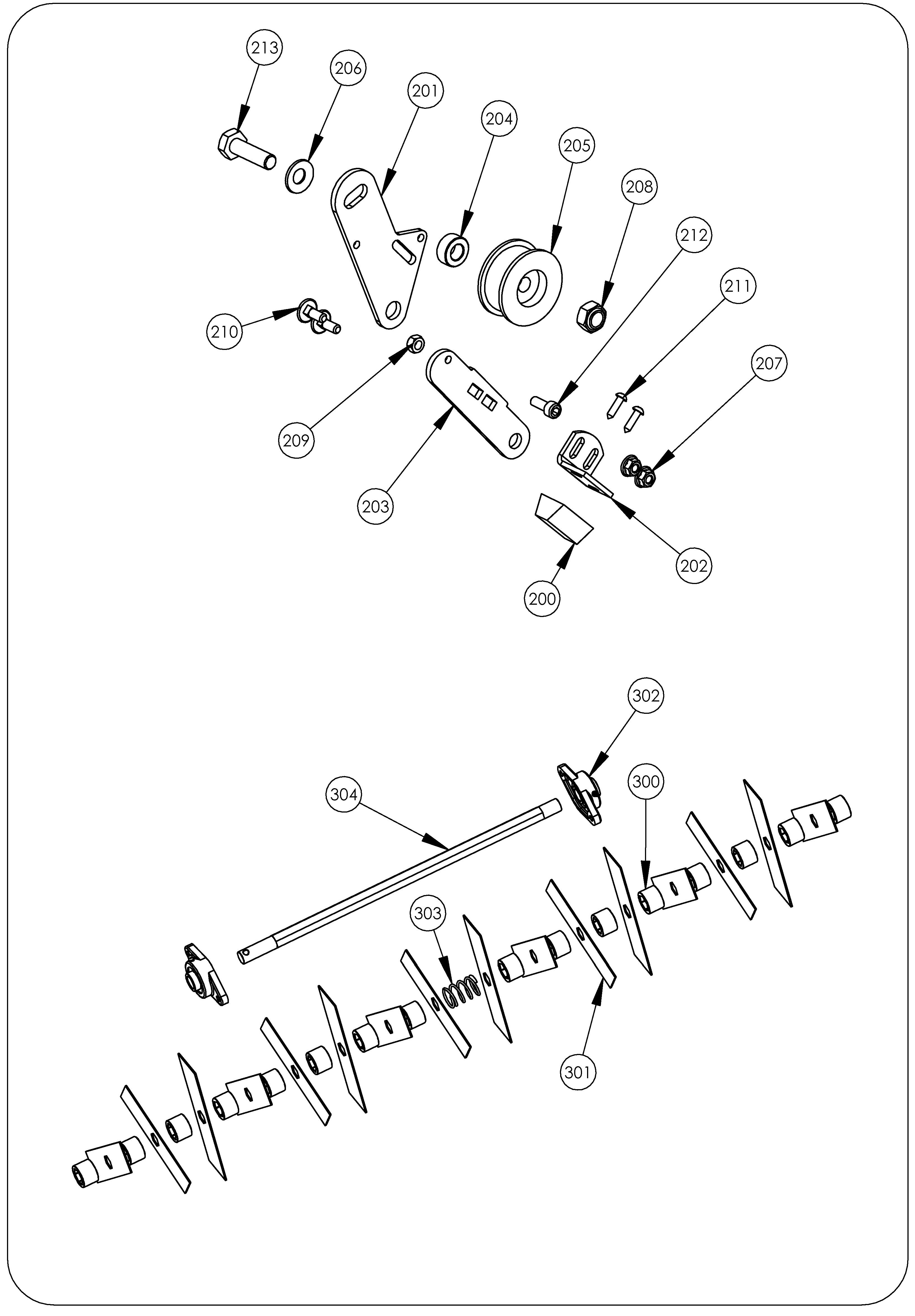 SCA 40 version 2011 Scarificateur  OLEOMAC vue éclatée  Dessins pièces -  Rotor