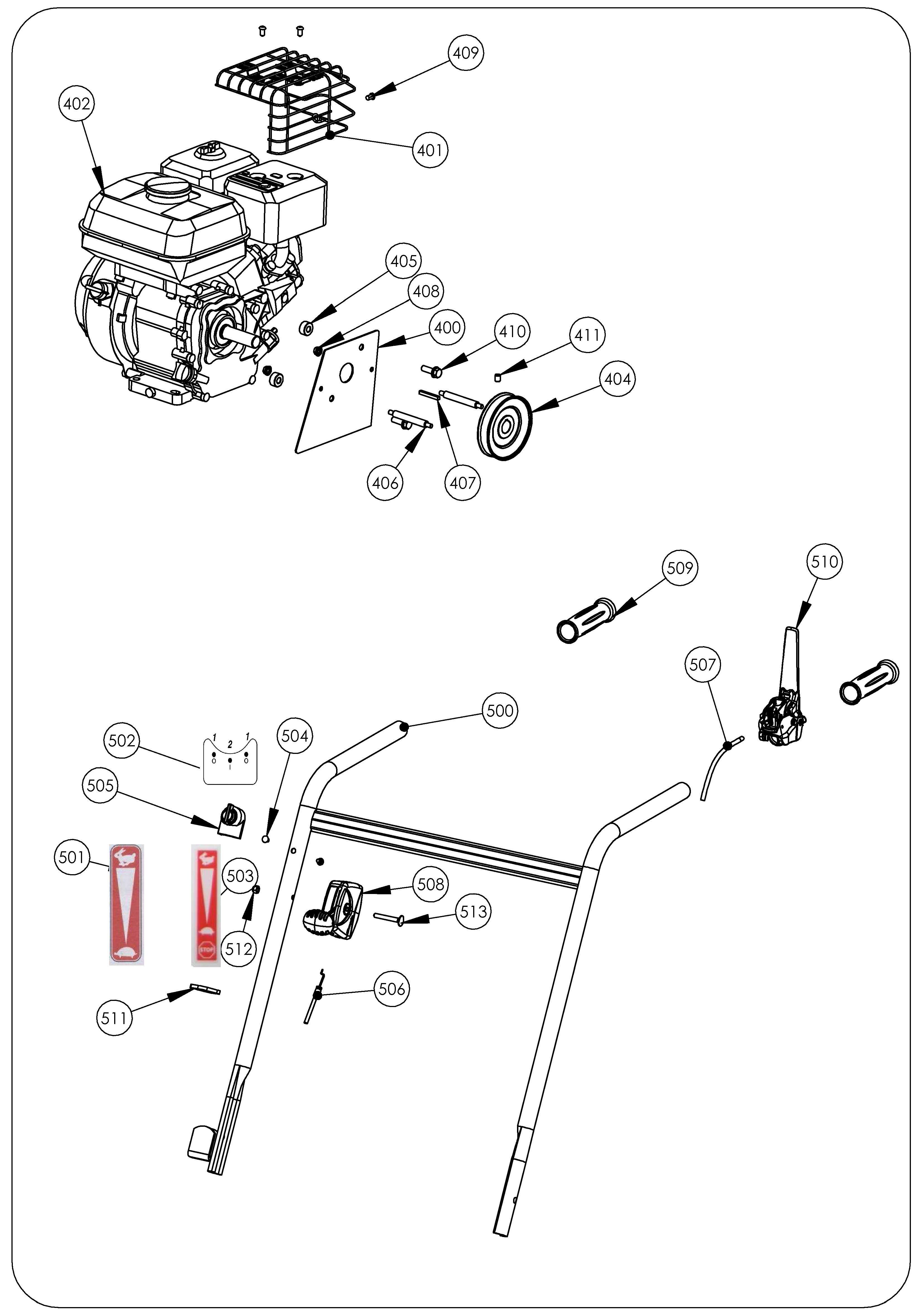 SCA 40 version 2011 Scarificateur OLEOMAC vue éclatée Dessins pièces -  Guidon
