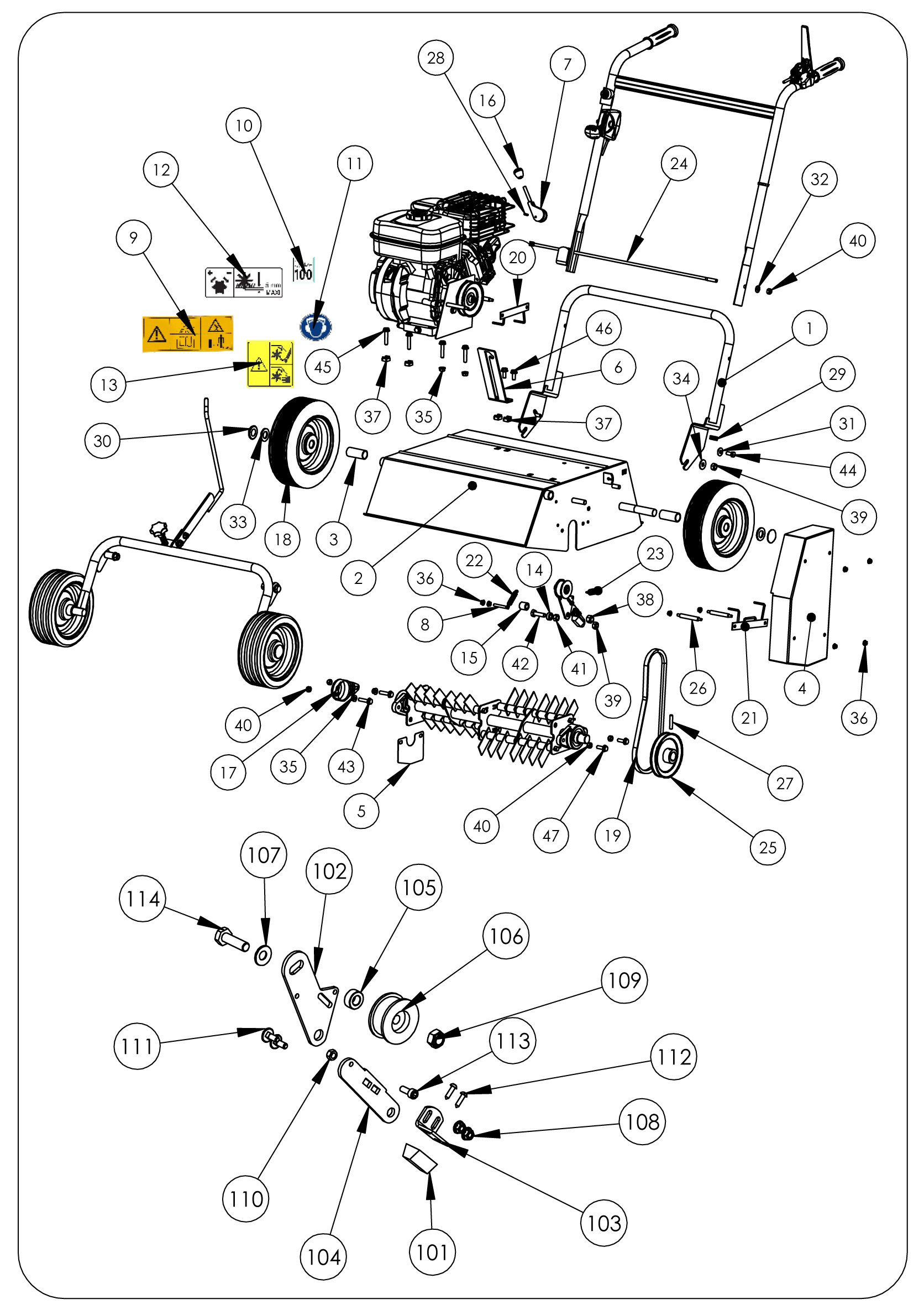 SCA 50 version 2011 Scarificateur  OLEOMAC vue éclatée  Dessins pièces -  Châssis