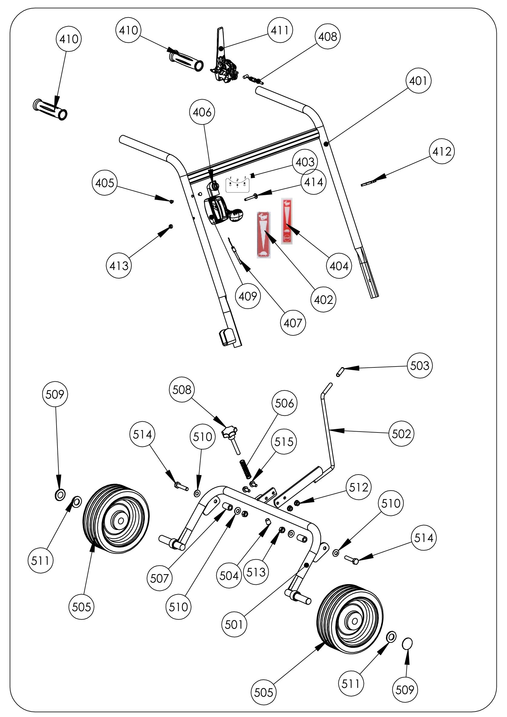 SCA 50 version 2011 Scarificateur OLEOMAC vue éclatée Dessins pièces -  Guidon