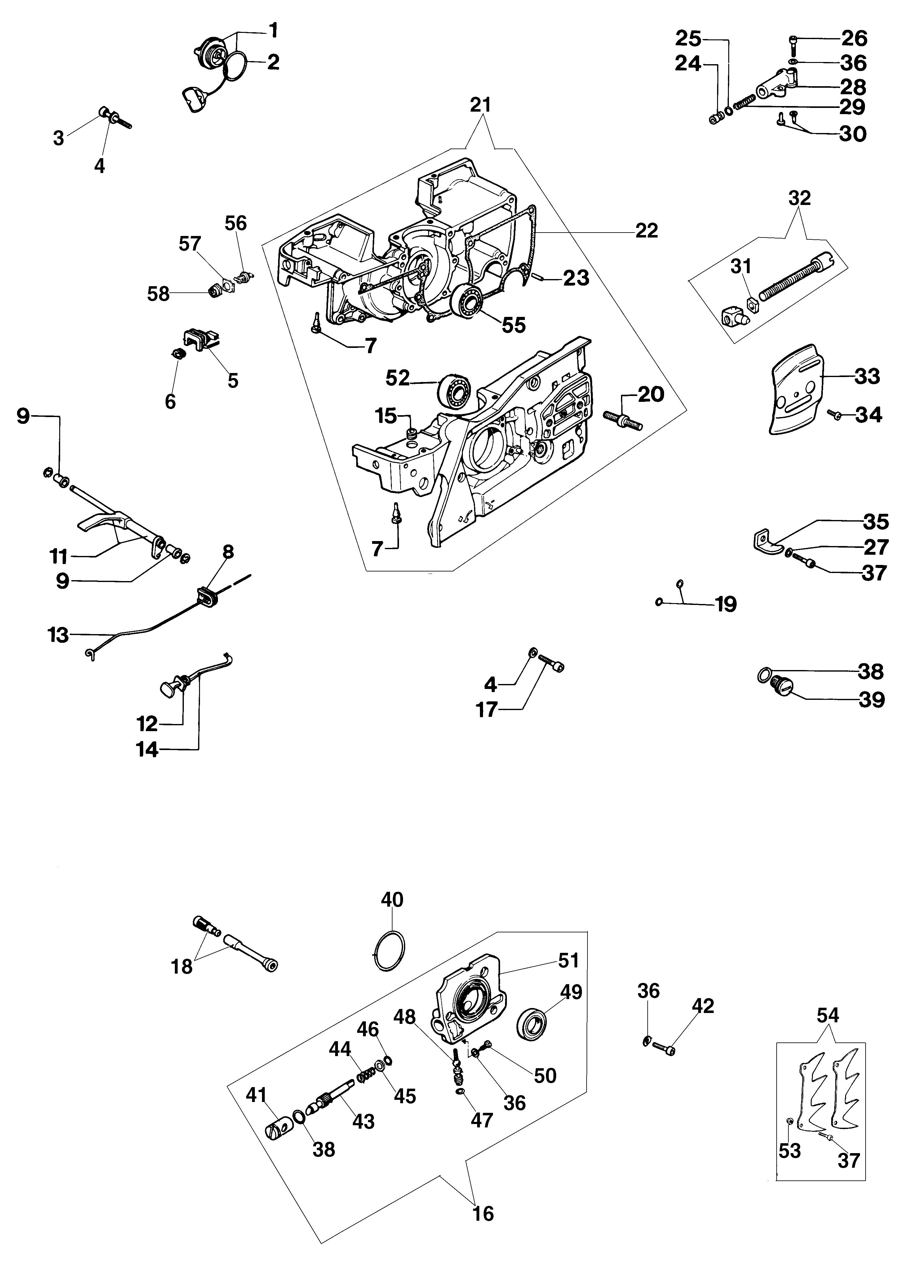 999 F Tronçonneuse oleomac Dessins pièces vue éclatée Carter moteur