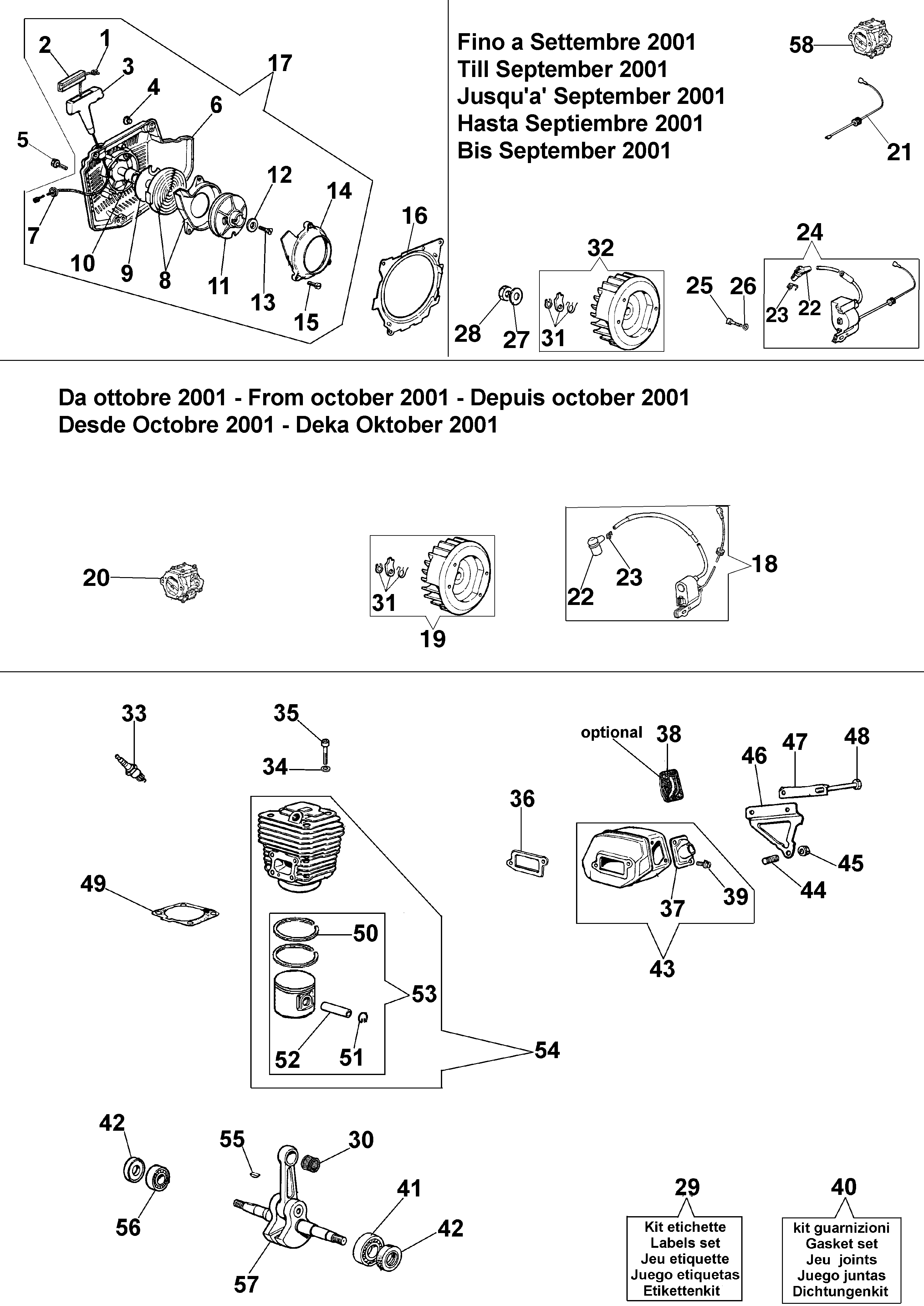 999 F Tronçonneuse oleomac Dessins pièces vue éclatée Démarrage et moteur