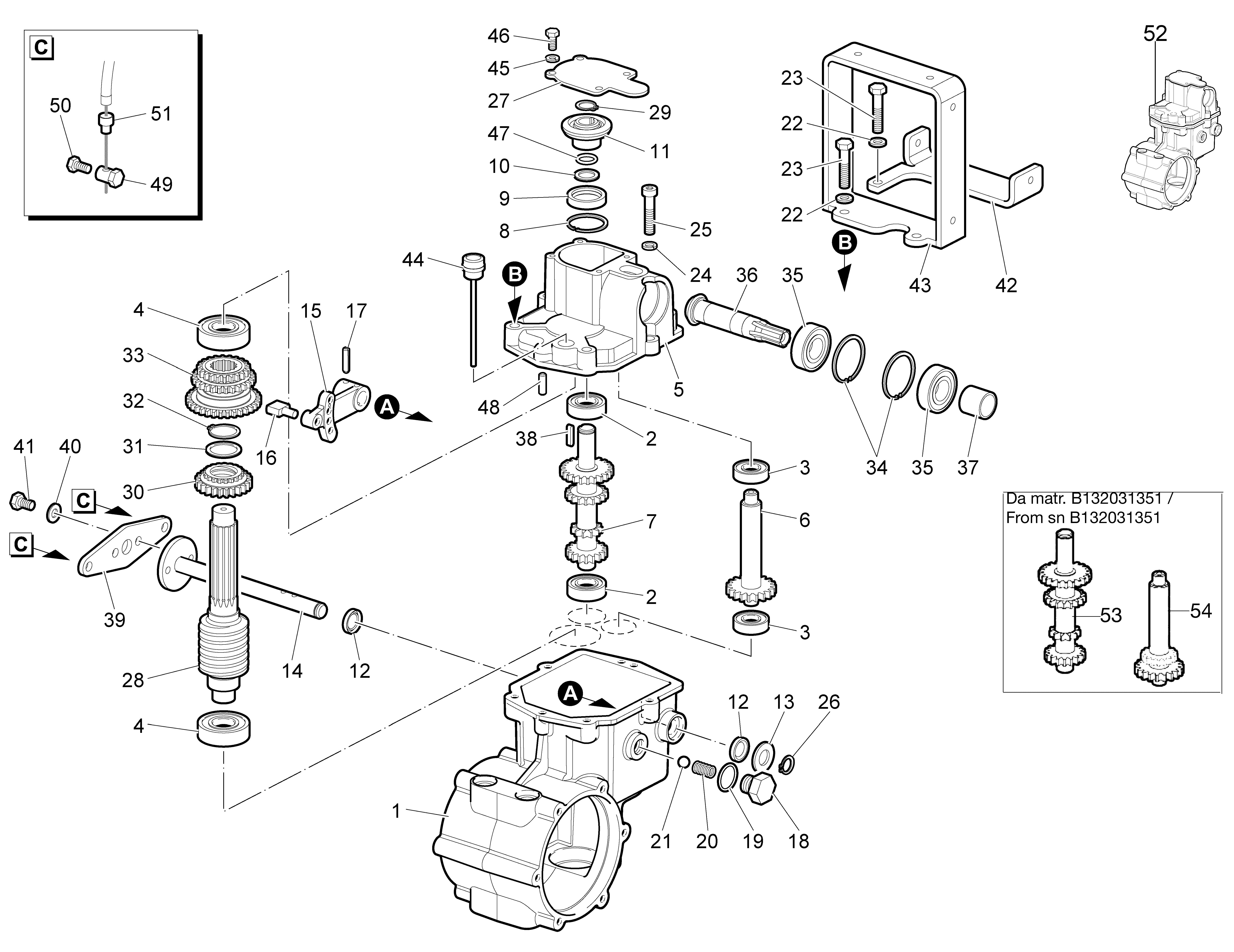 WB 65 HR 8,5 Tondeuse à fléaux  Oleomac vue éclatée Dessins pièces -  Engrenages de la boite a vitesse (1/2)